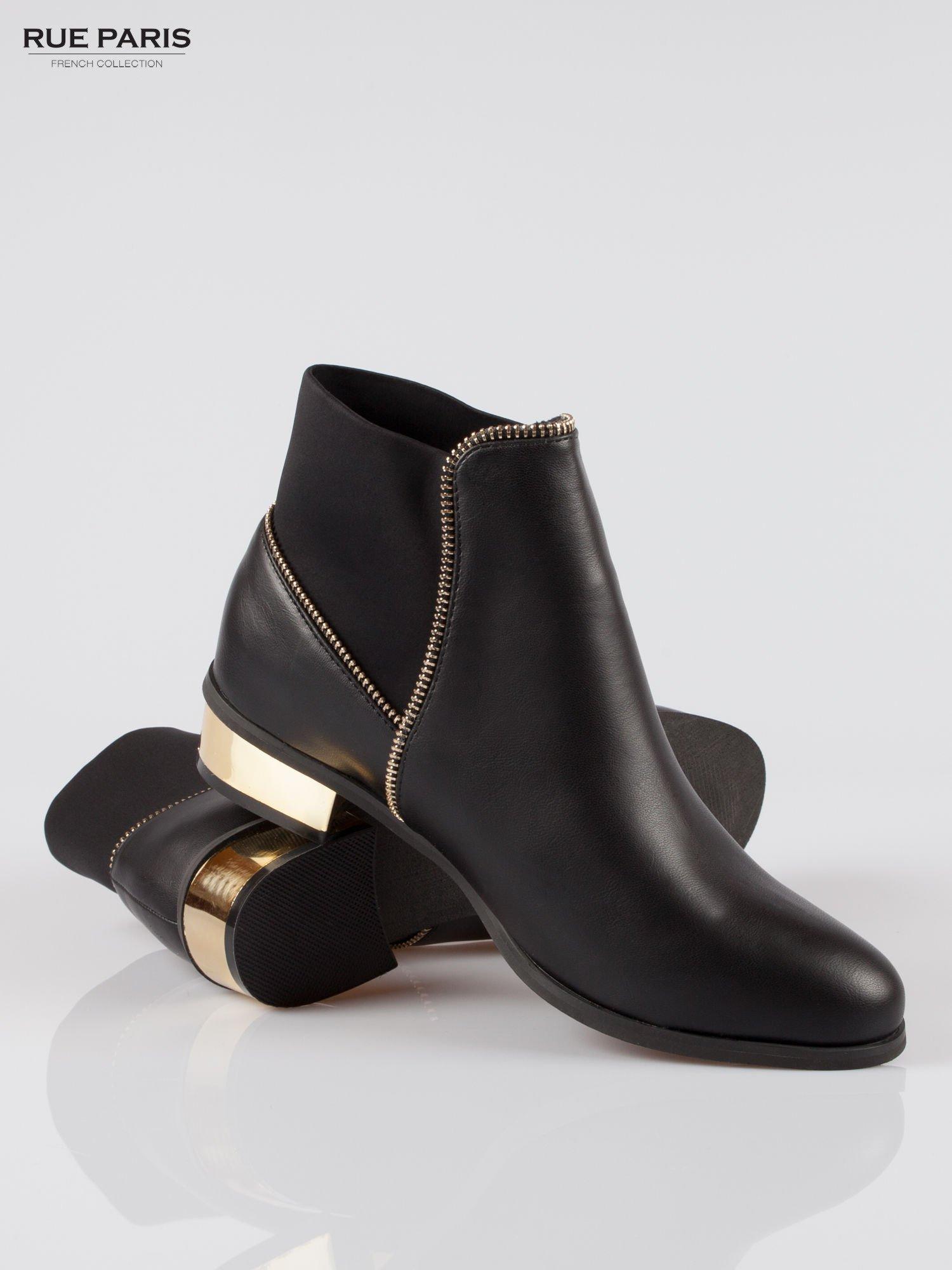 Czarne botki ankle boots z zamkiem i złotym obcasem                                  zdj.                                  4