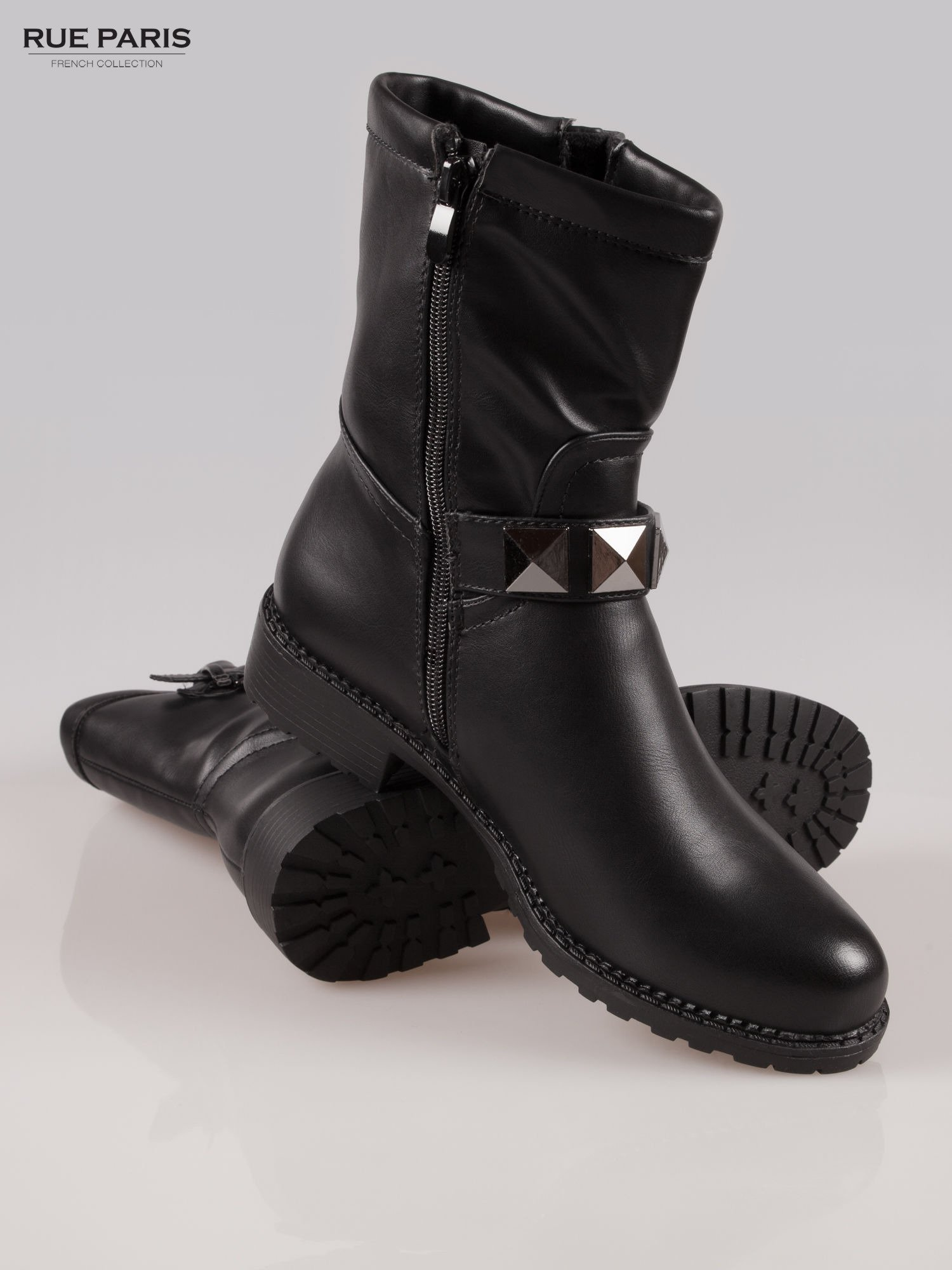 Czarne botki biker boots z klamerkami                                  zdj.                                  4
