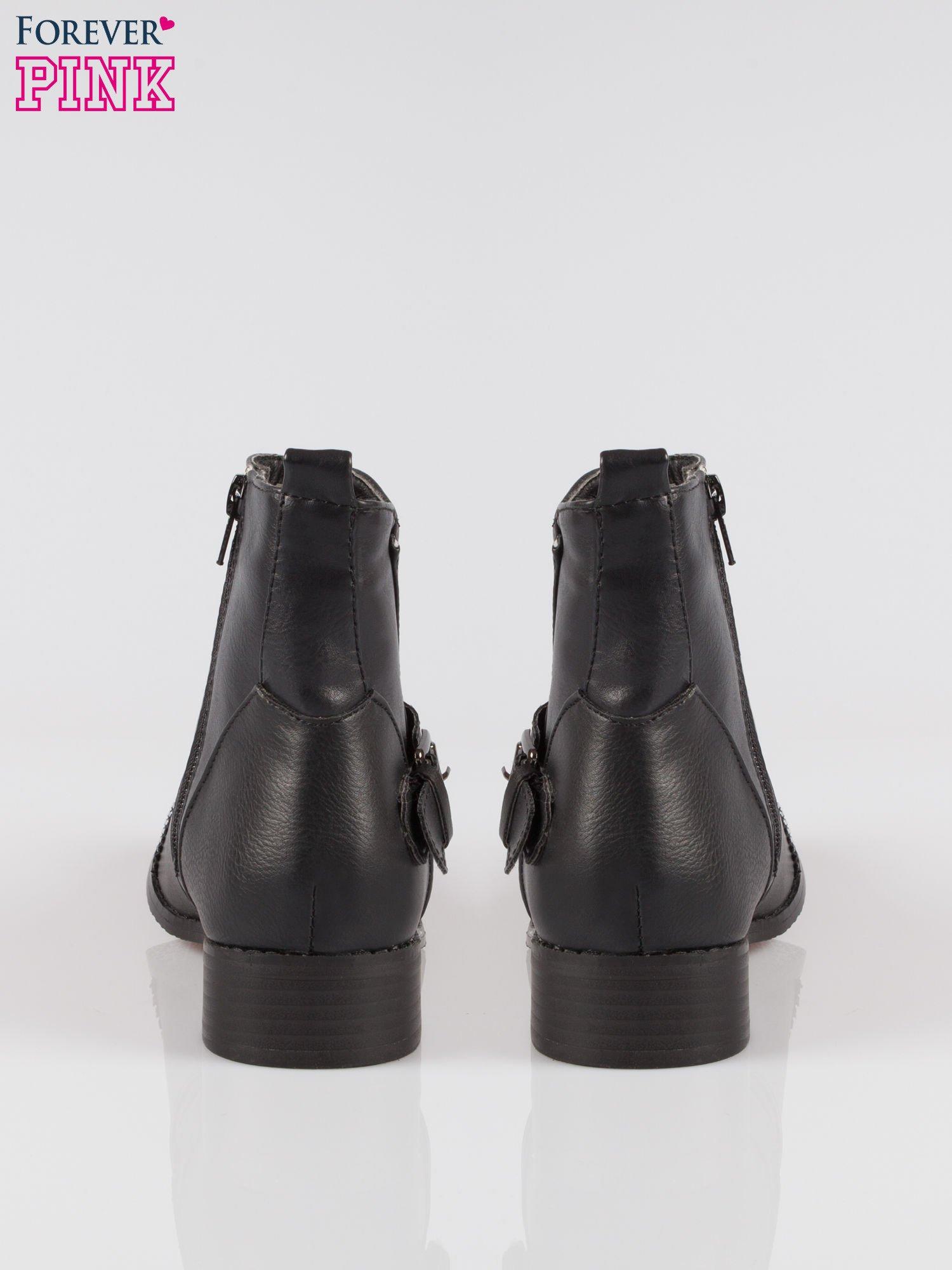Czarne botki biker boots z noskiem nabitym dżetami                                  zdj.                                  3