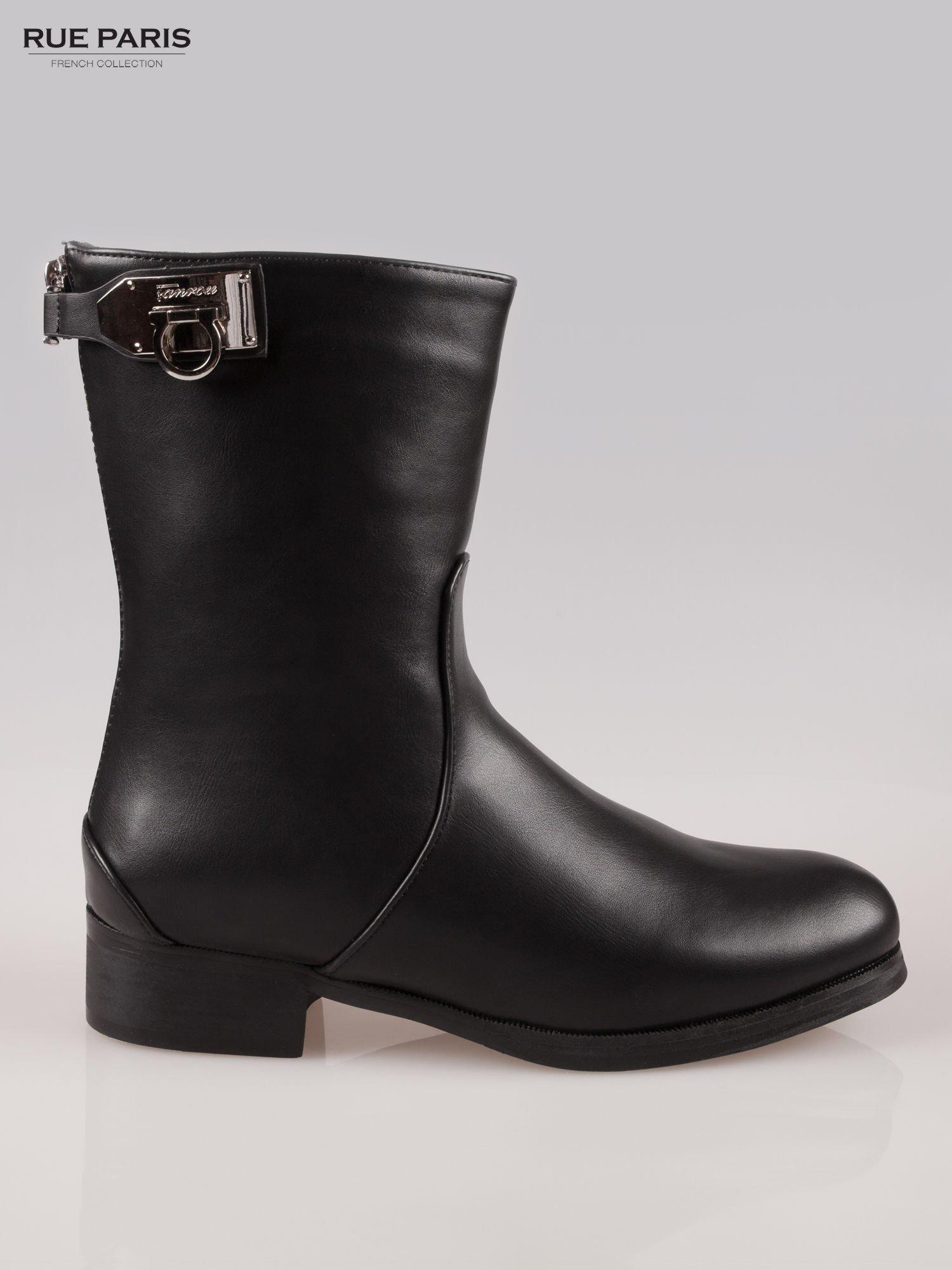 Czarne botki biker boots z zamkiem z tył                                  zdj.                                  1