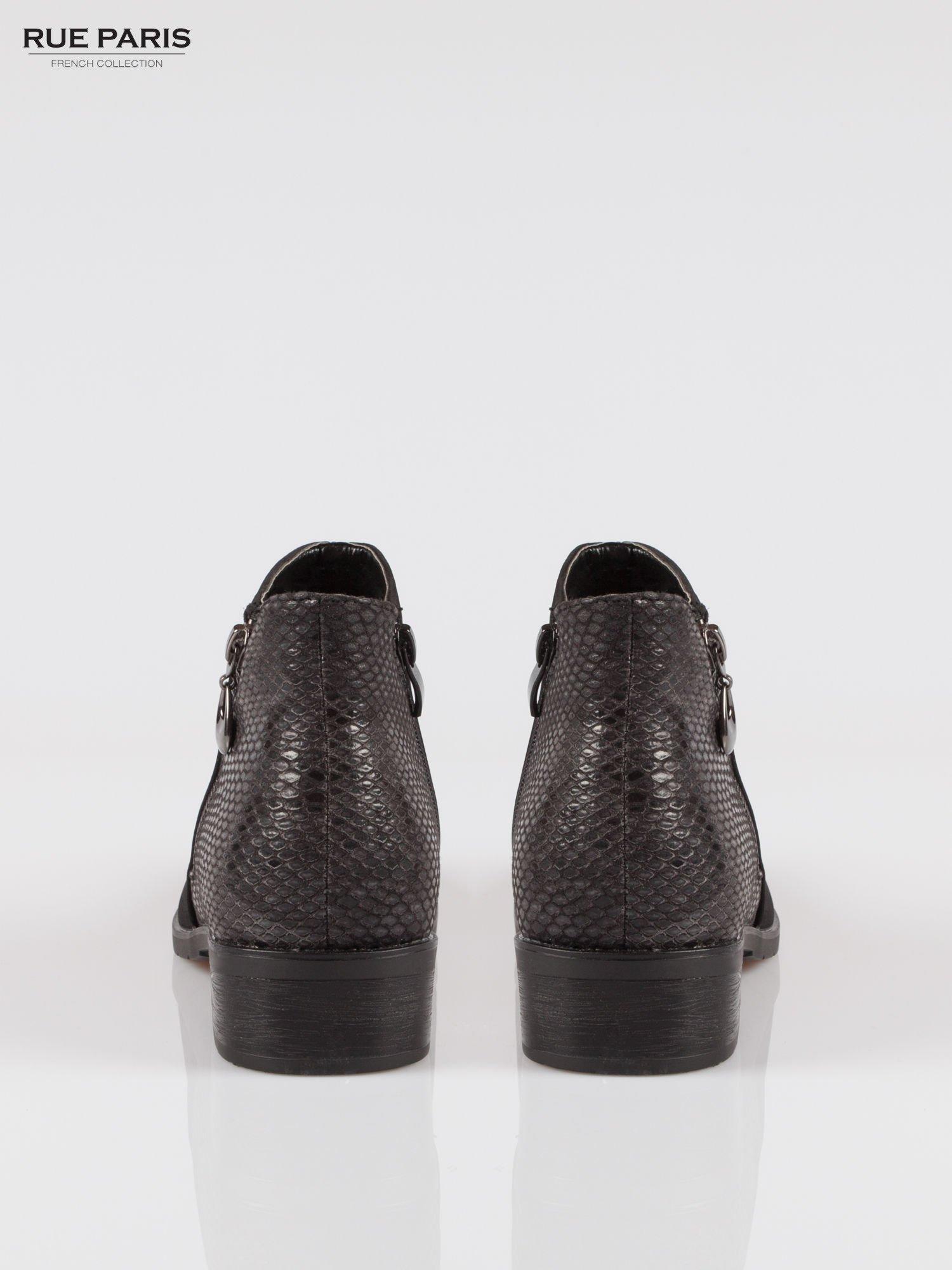 Czarne botki cap toe z nubuku z tyłem z efektem skóry krokodyla                                  zdj.                                  3