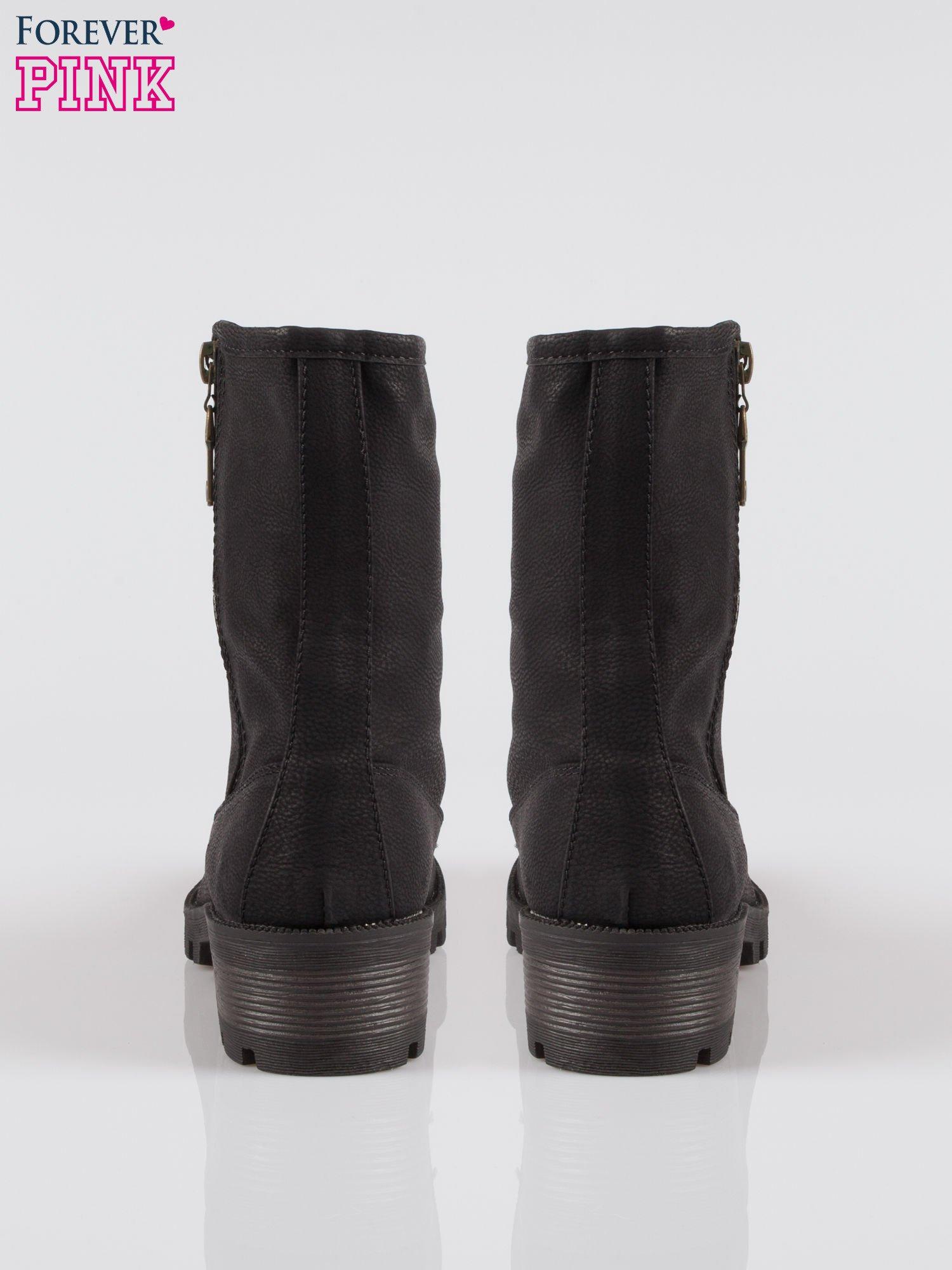 Czarne botki worker boots z zamkiem z boku                                  zdj.                                  3