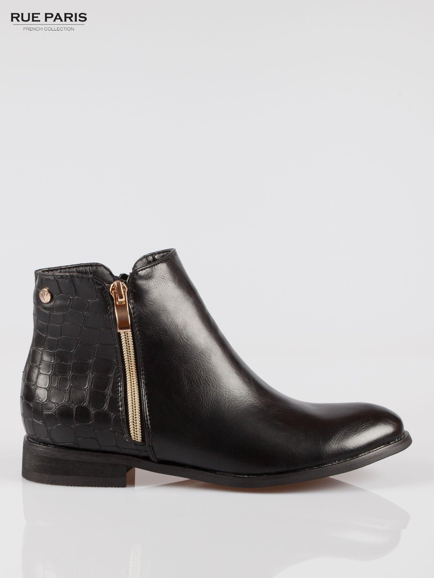 Czarne botki ze złotym zamkiem i tyłem z efektem skóry krokodyla                                  zdj.                                  1