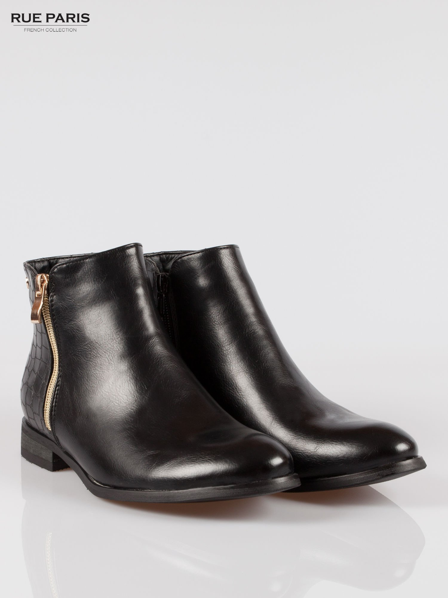 Czarne botki ze złotym zamkiem i tyłem z efektem skóry krokodyla                                  zdj.                                  2