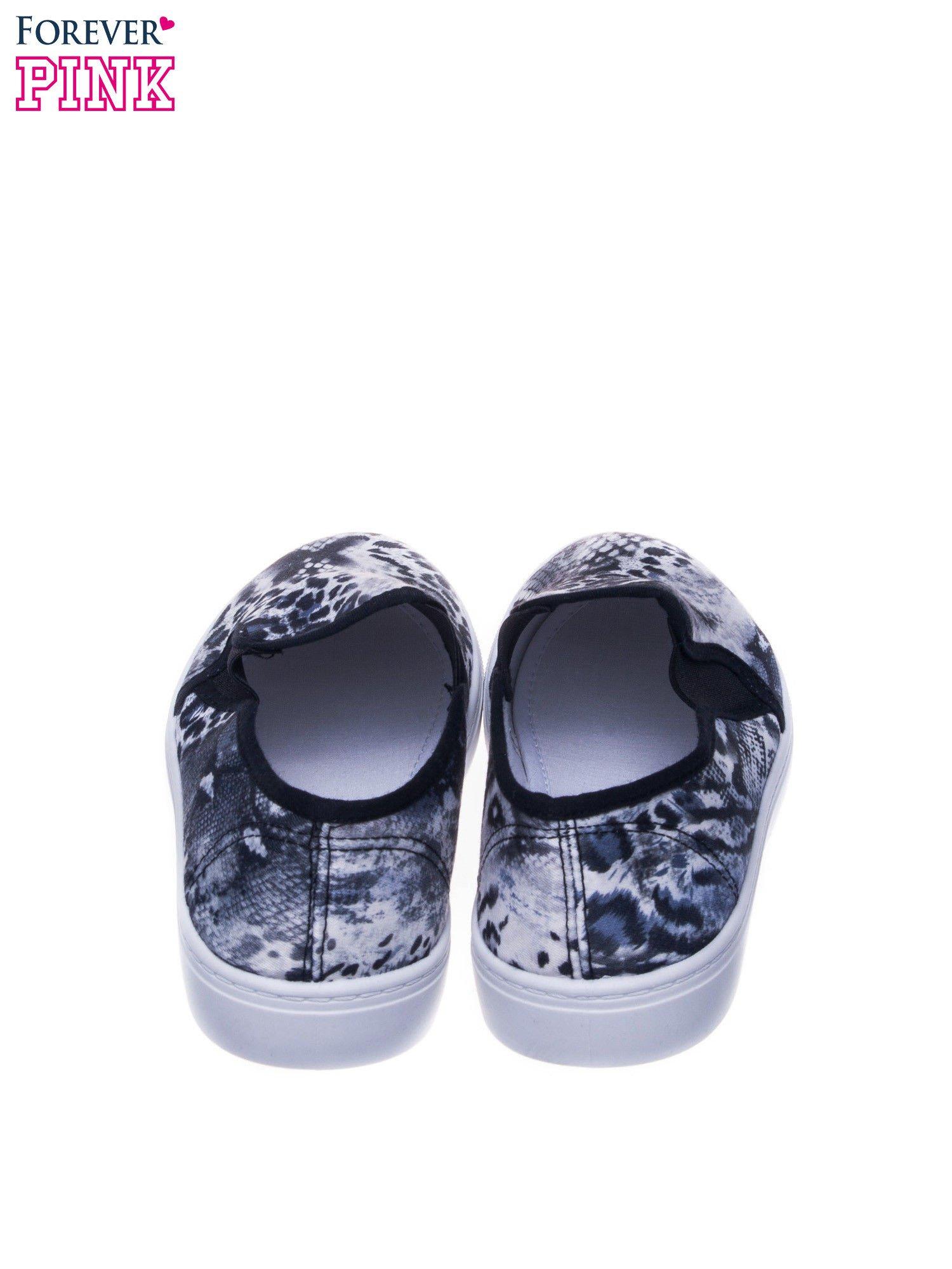 Czarne buty slip on we wzór animal print                                  zdj.                                  3
