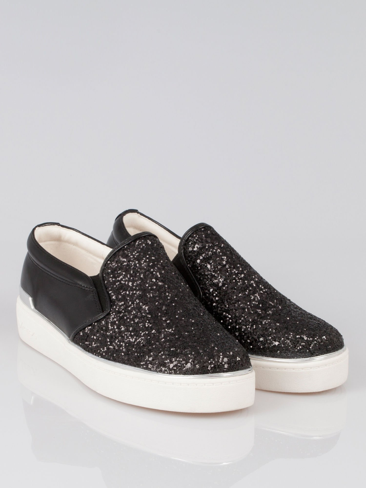 Czarne buty sliponki glitter                                  zdj.                                  1