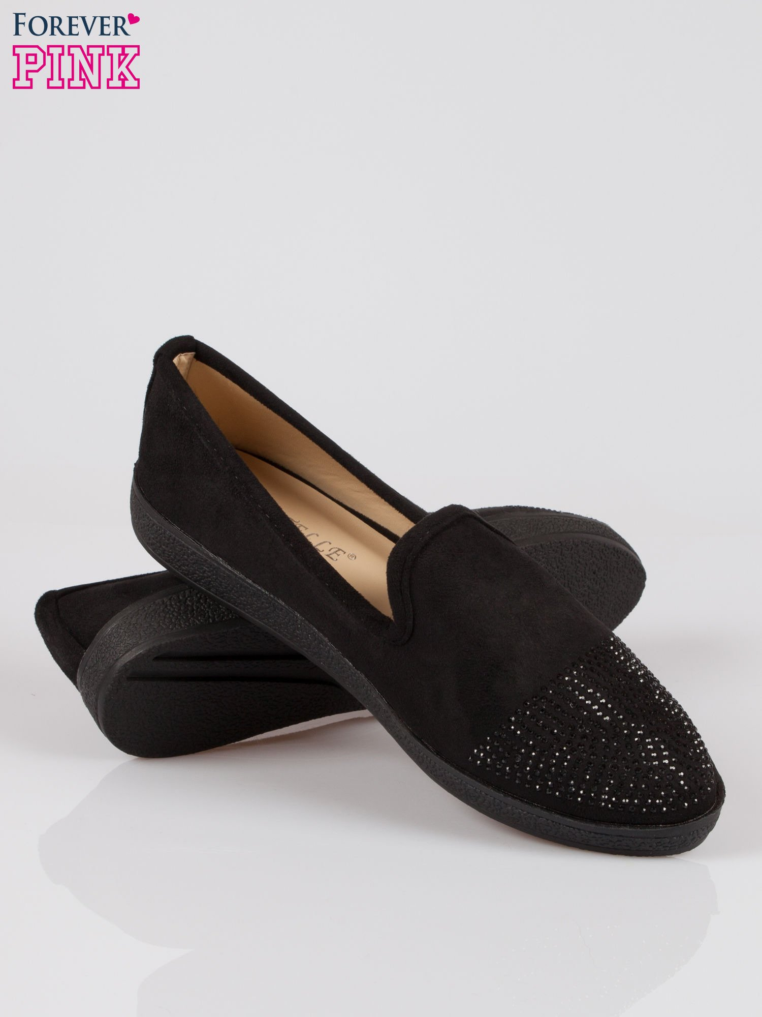Czarne buty slippers z dżetami                                  zdj.                                  4