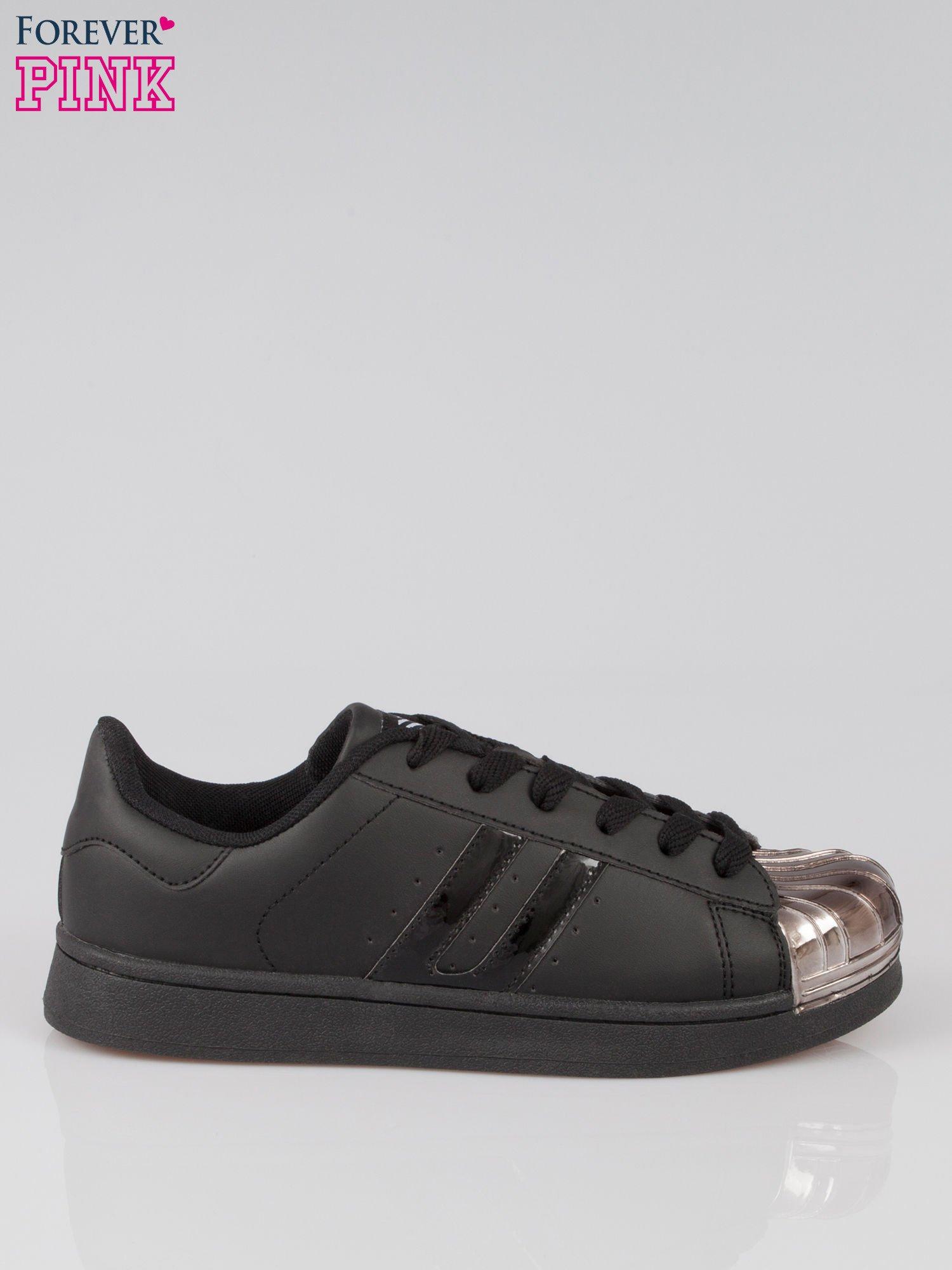 Czarne buty sportowe material Enigmatic z metalicznym czubkiem                                  zdj.                                  1