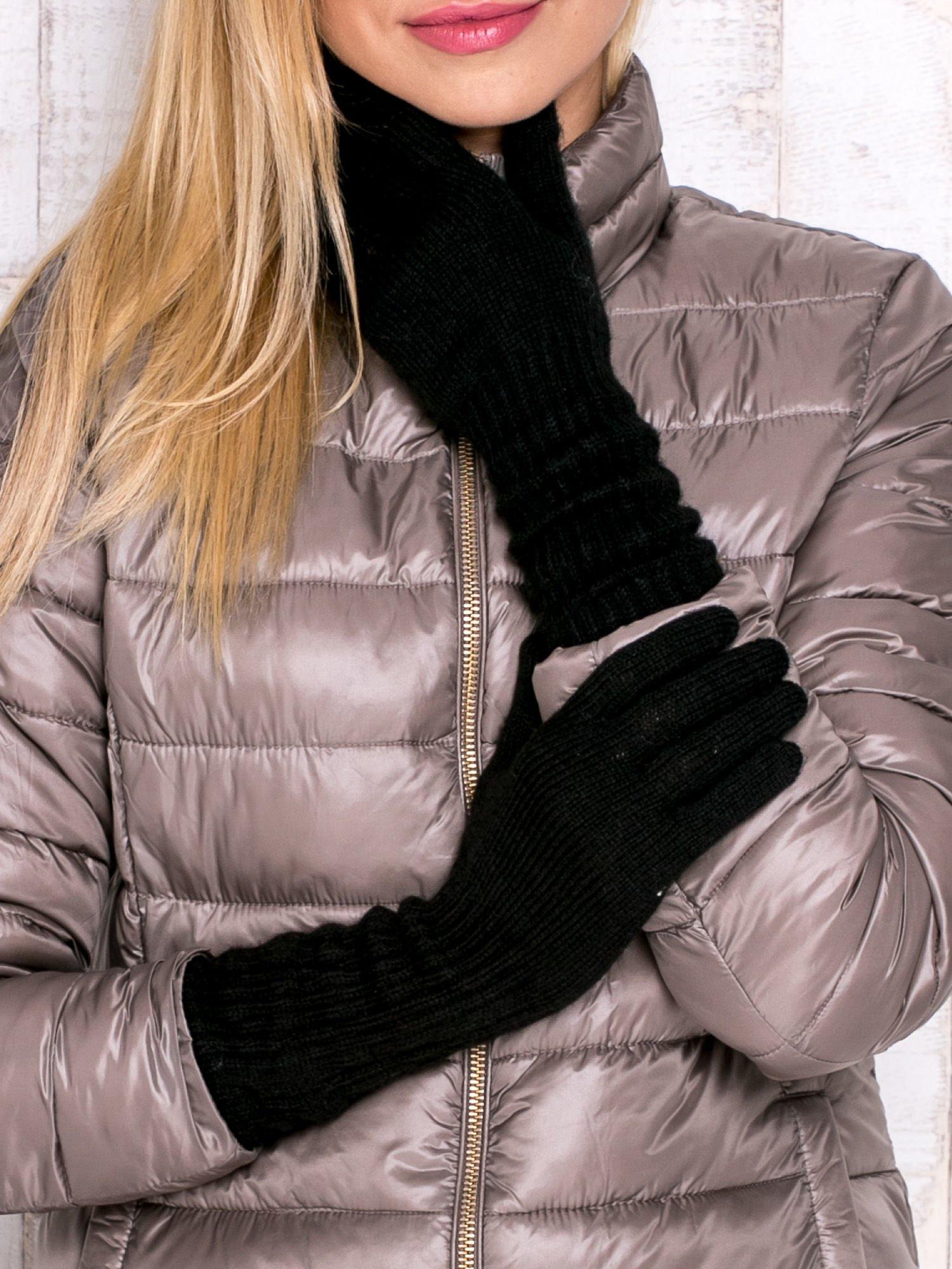 Czarne długie rękawiczki                                  zdj.                                  1