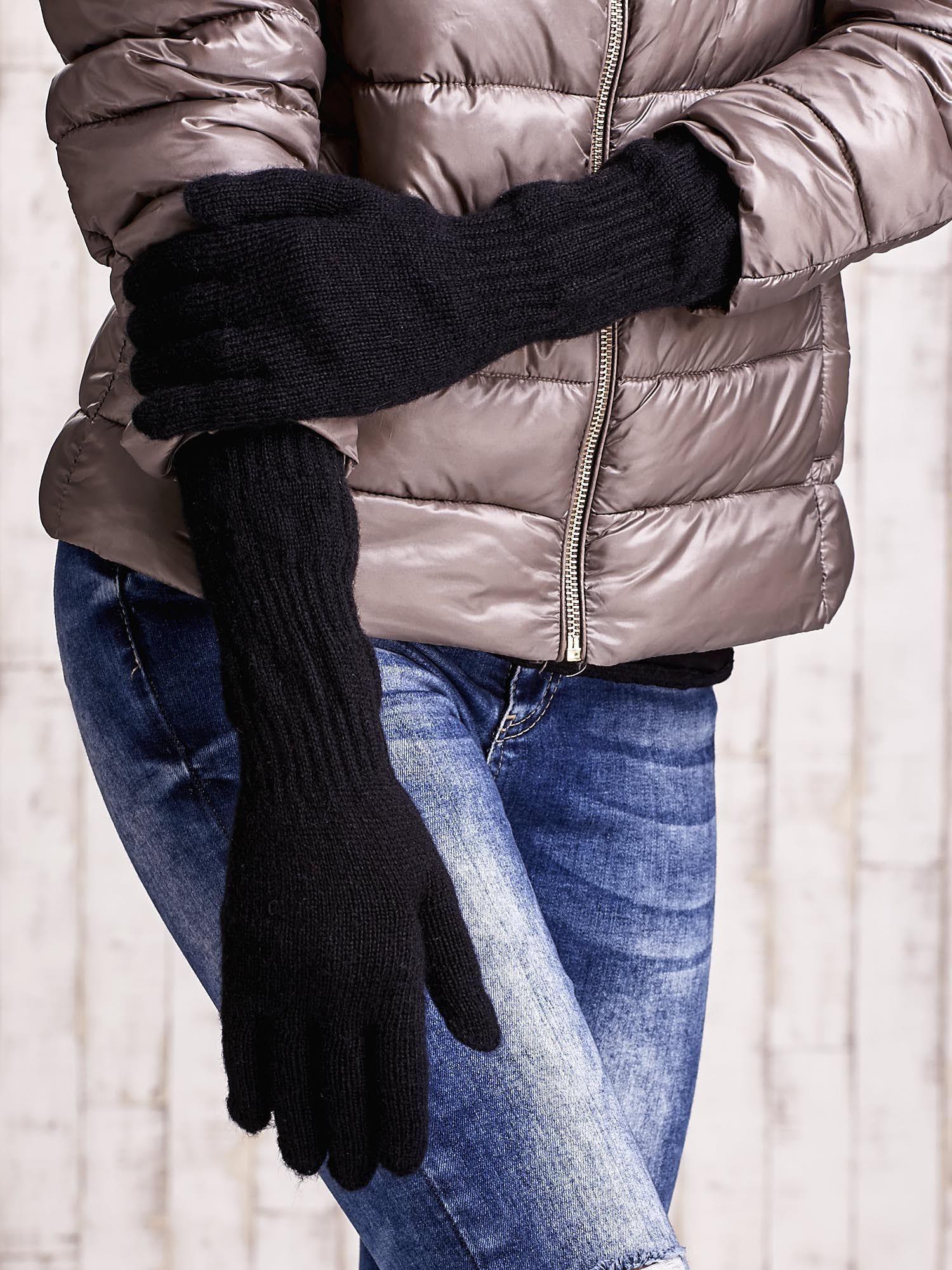 Czarne długie rękawiczki z przeszywanym ściągaczem                                  zdj.                                  3