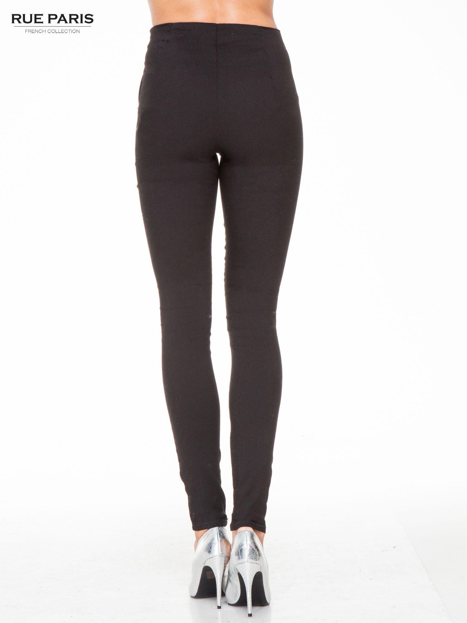 Czarne eleganckie spodnie typu tregginsy z wysoką talią                                  zdj.                                  4