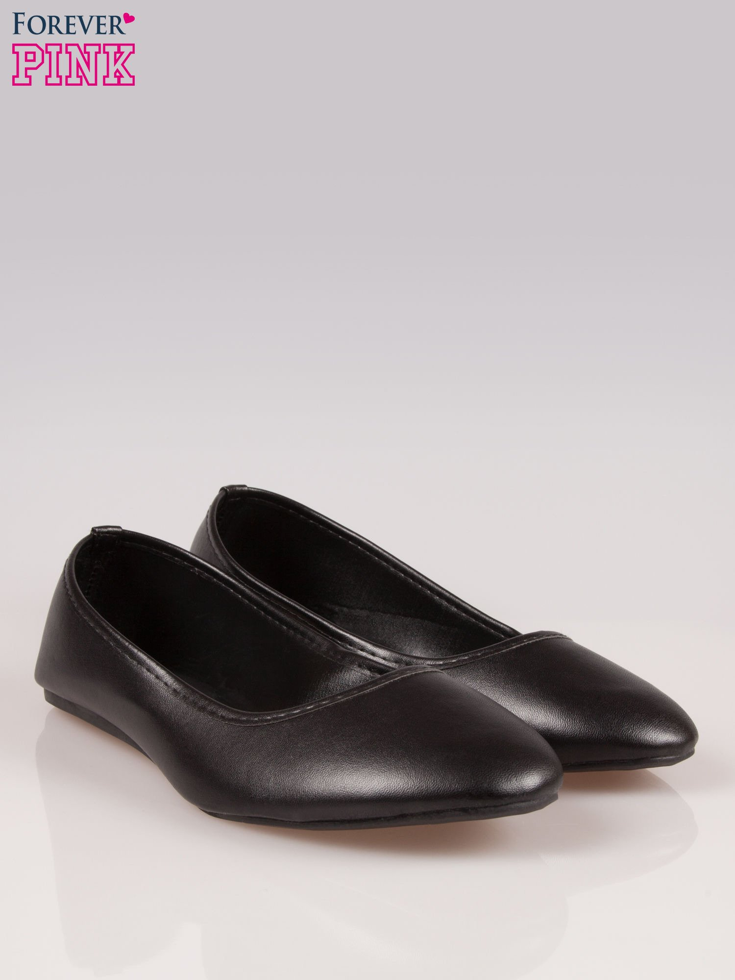 Czarne gładkie balerinki eco leather ze skóry ekologicznej                                  zdj.                                  2