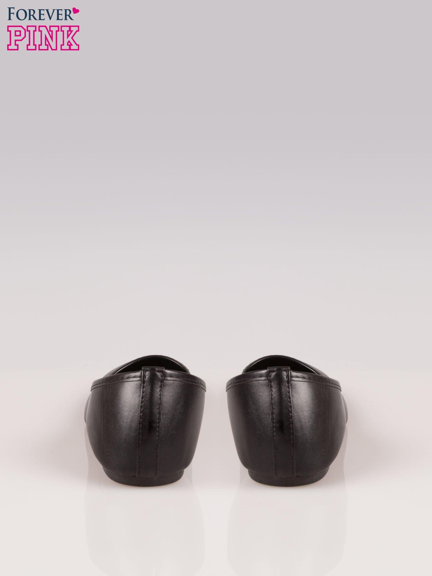 Czarne gładkie balerinki eco leather ze skóry ekologicznej                                  zdj.                                  3