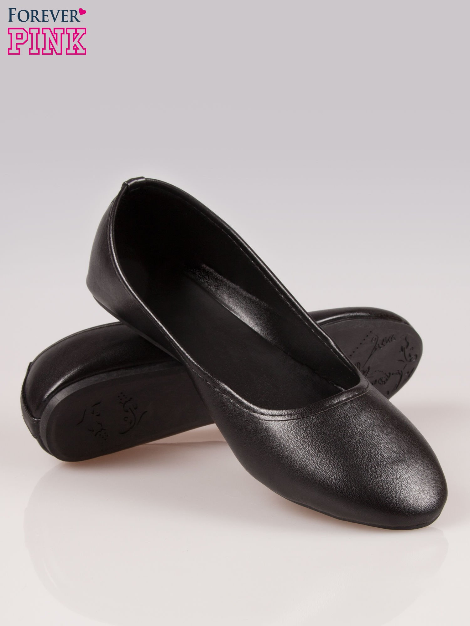 Czarne gładkie balerinki eco leather ze skóry ekologicznej                                  zdj.                                  4