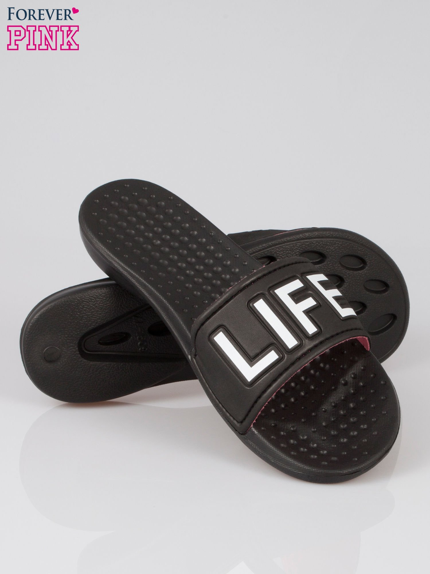 Czarne klapki hipster z hasztagiem #FUN LIFE                                  zdj.                                  4