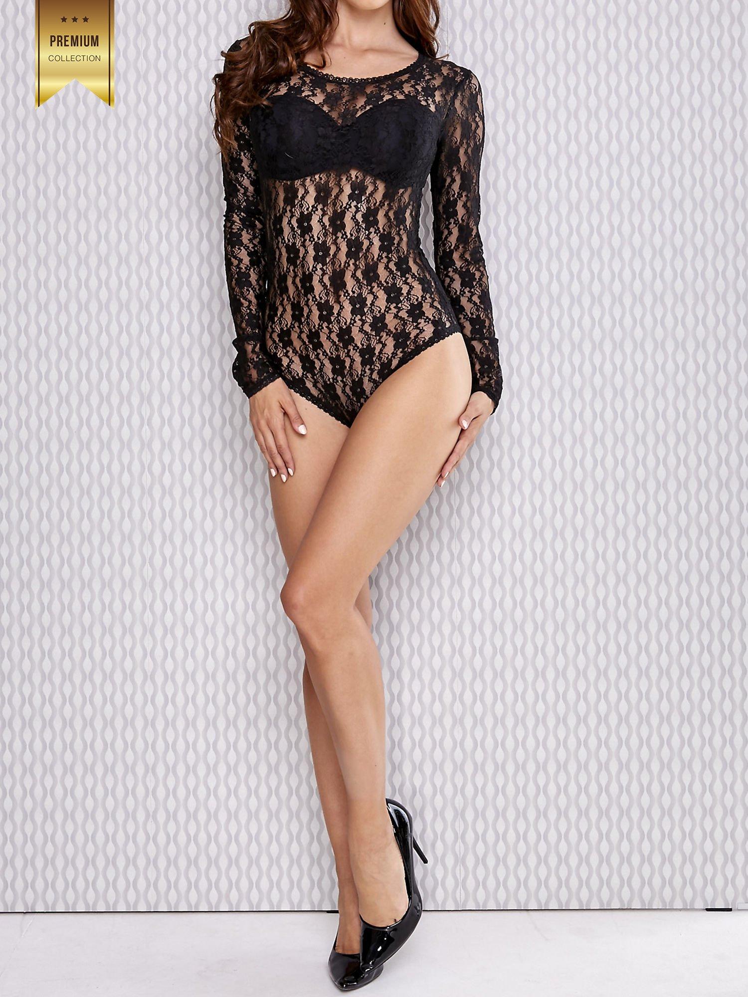 Czarne koronkowe body damskie z długim rękawem                                  zdj.                                  2
