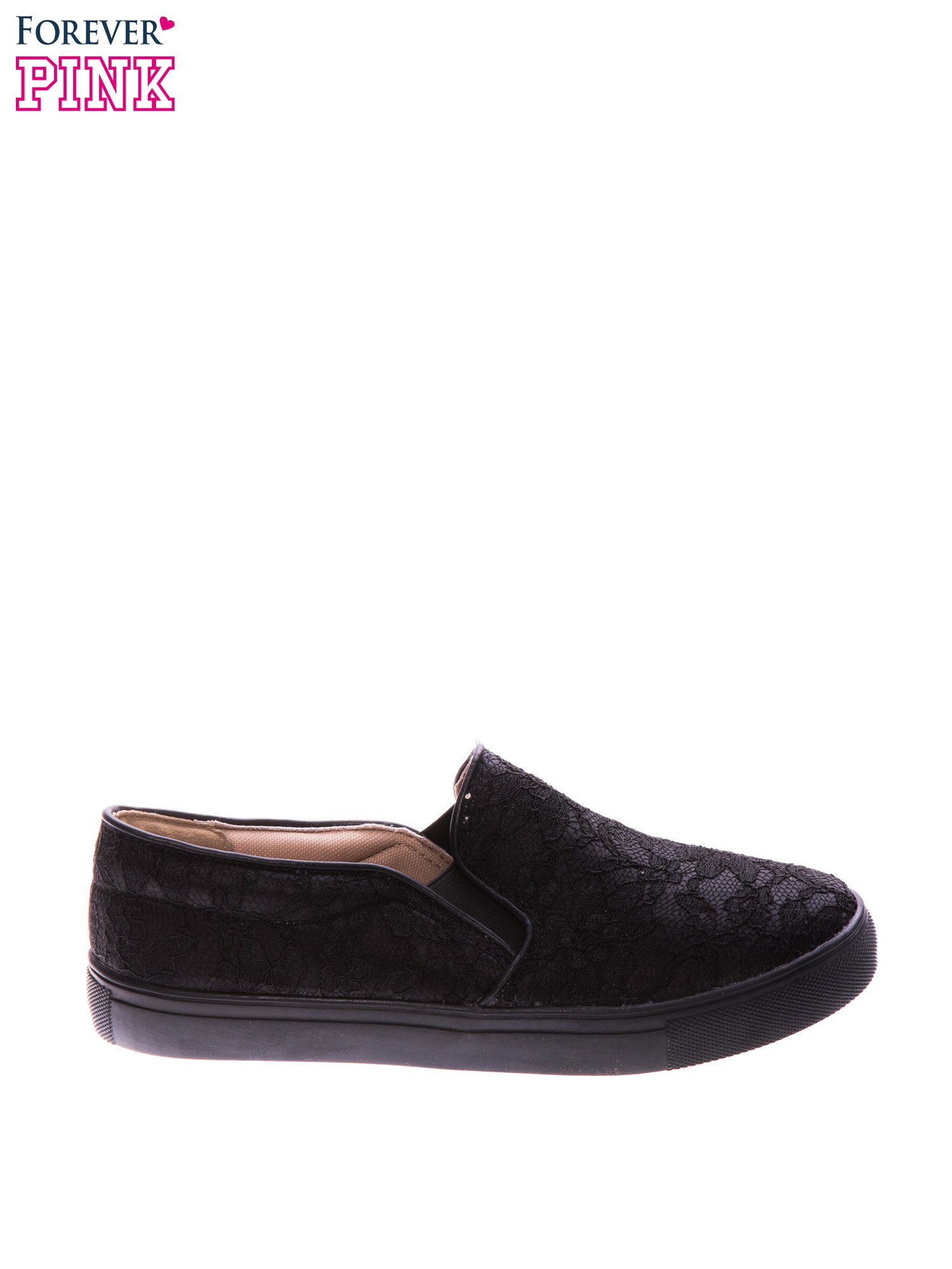 Czarne koronkowe buty slip on                                  zdj.                                  1