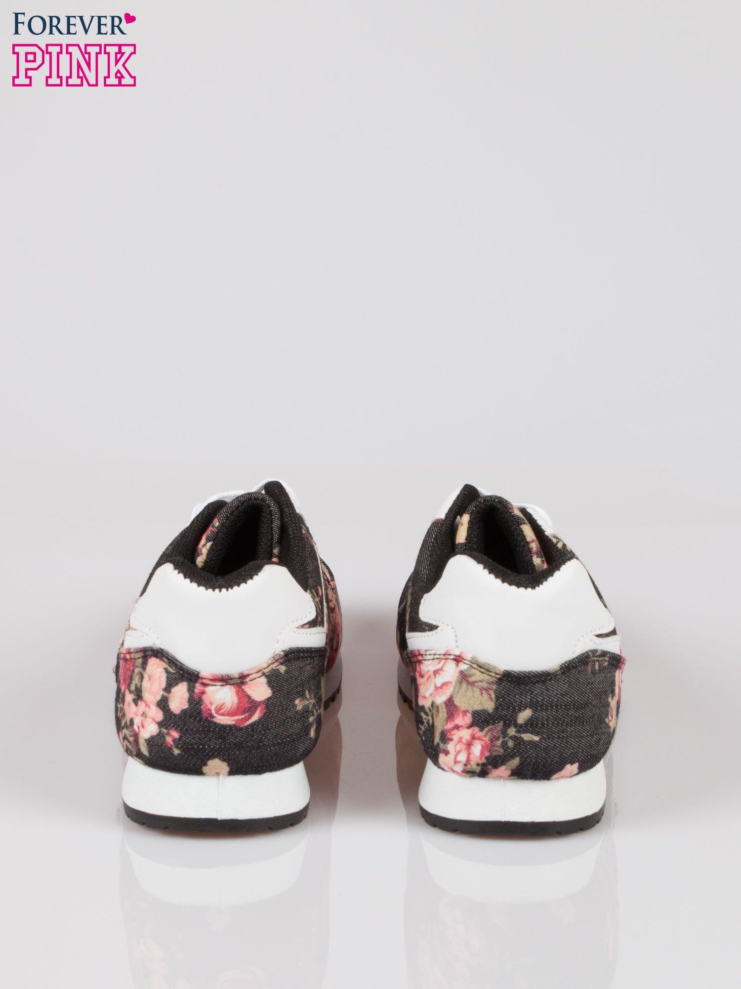 Czarne kwiatowe buty sportowe w stylu casual                                  zdj.                                  4