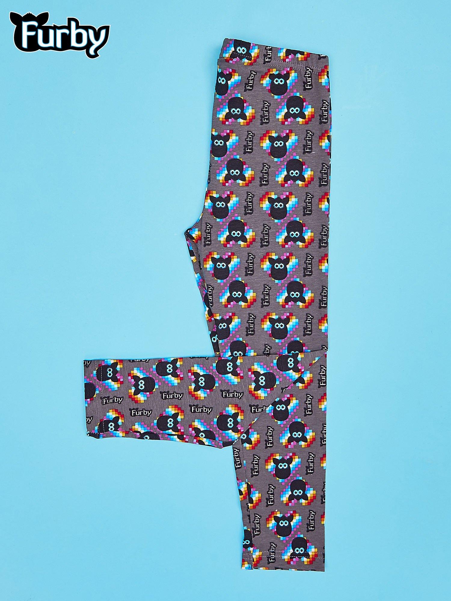 Czarne legginsy dla dziewczynki z nadrukiem FURBY                                  zdj.                                  2