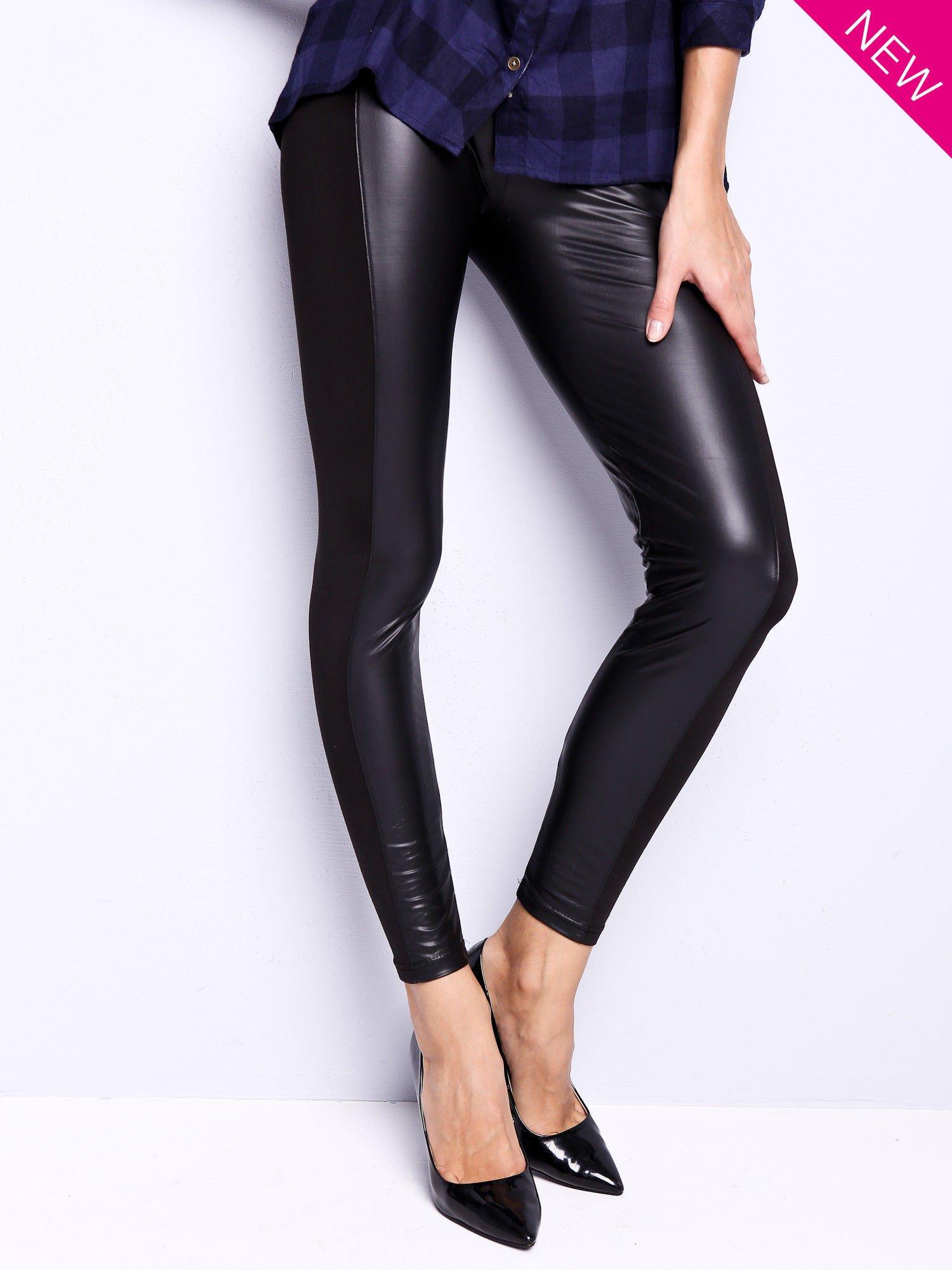 Czarne legginsy z łączonych materiałów                                  zdj.                                  1