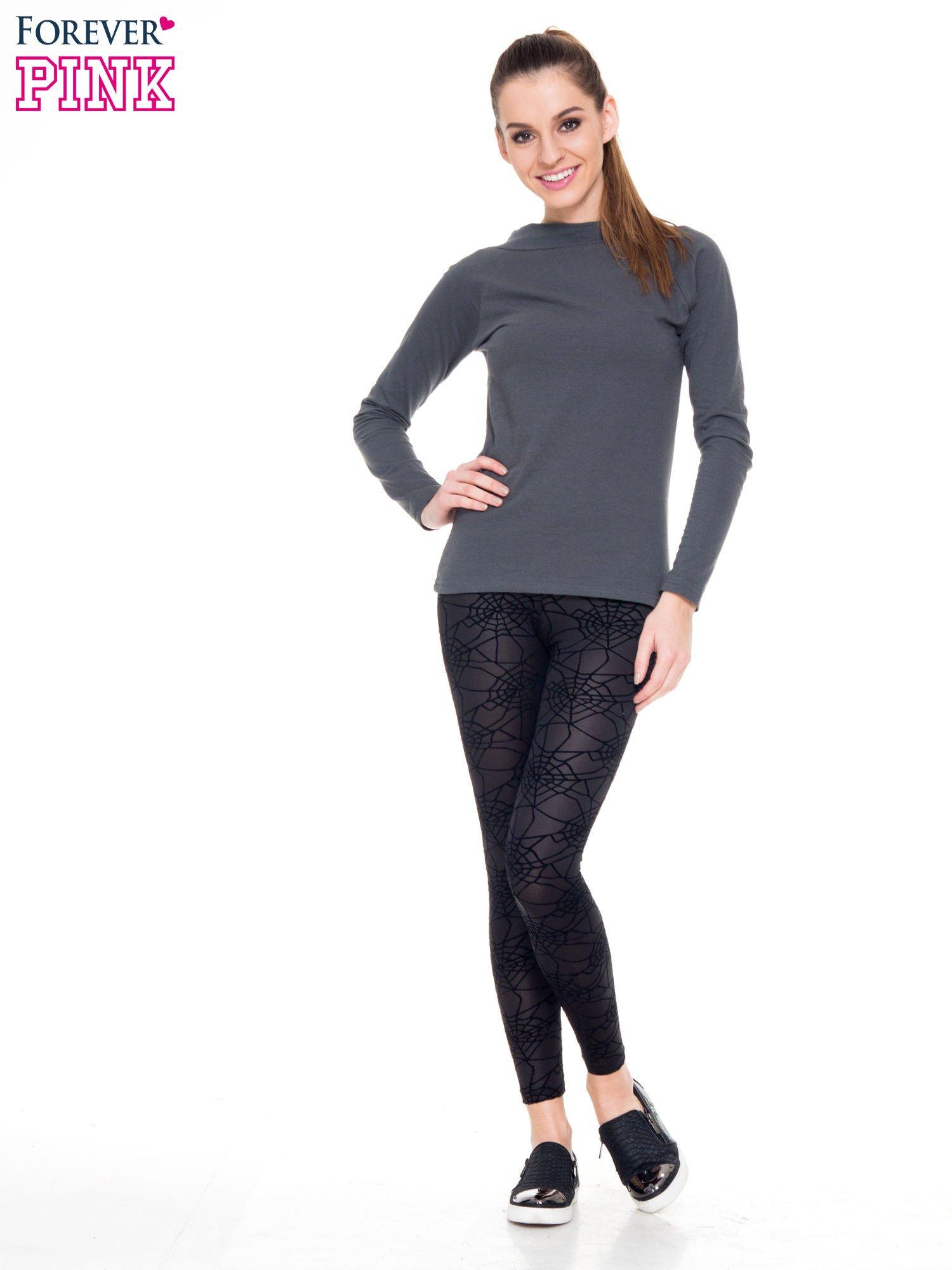 Czarne legginsy z wysokim pasem z nadrukiem pajęczej sieci                                  zdj.                                  2