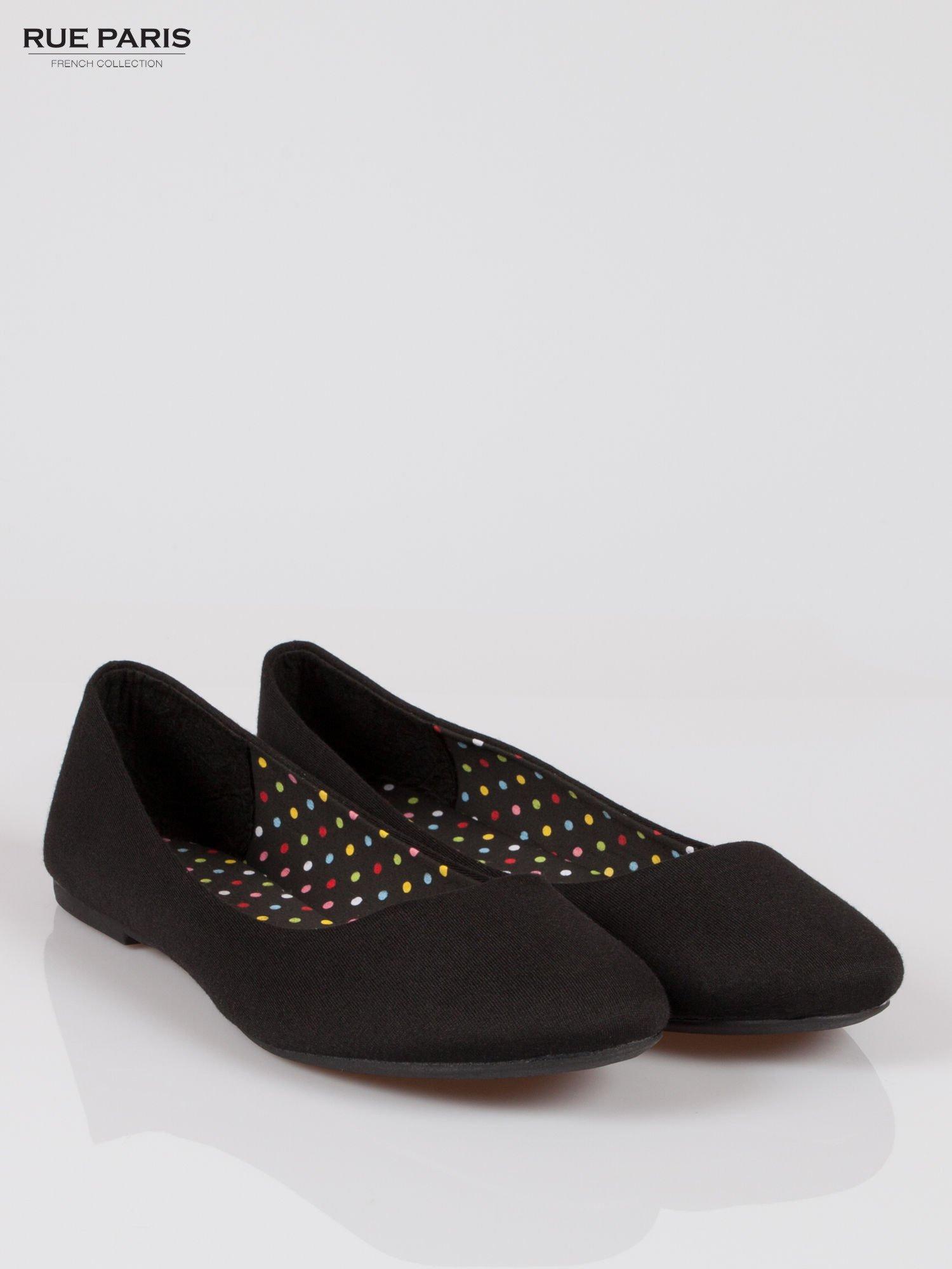 Czarne lekkie baleriny z tkaniny                                  zdj.                                  2