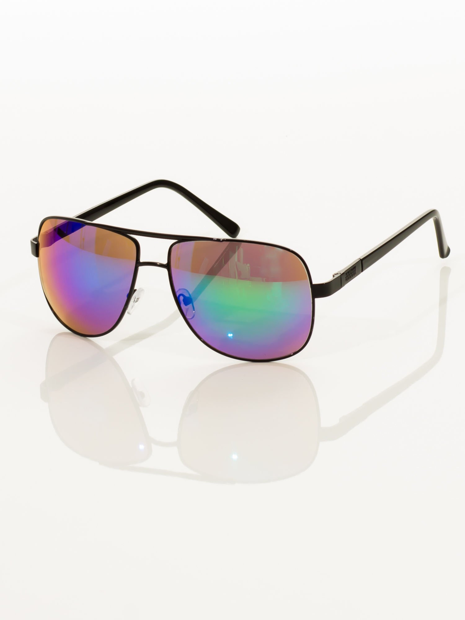 Czarne pilotki męskie okulary przeciwsłoneczne z systemem