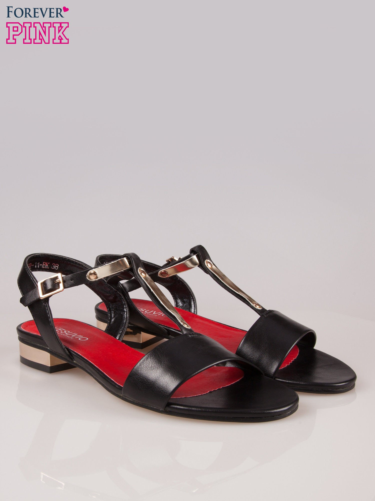 Czarne sandały t-bary ze złotym paskiem i obcasem                                  zdj.                                  2