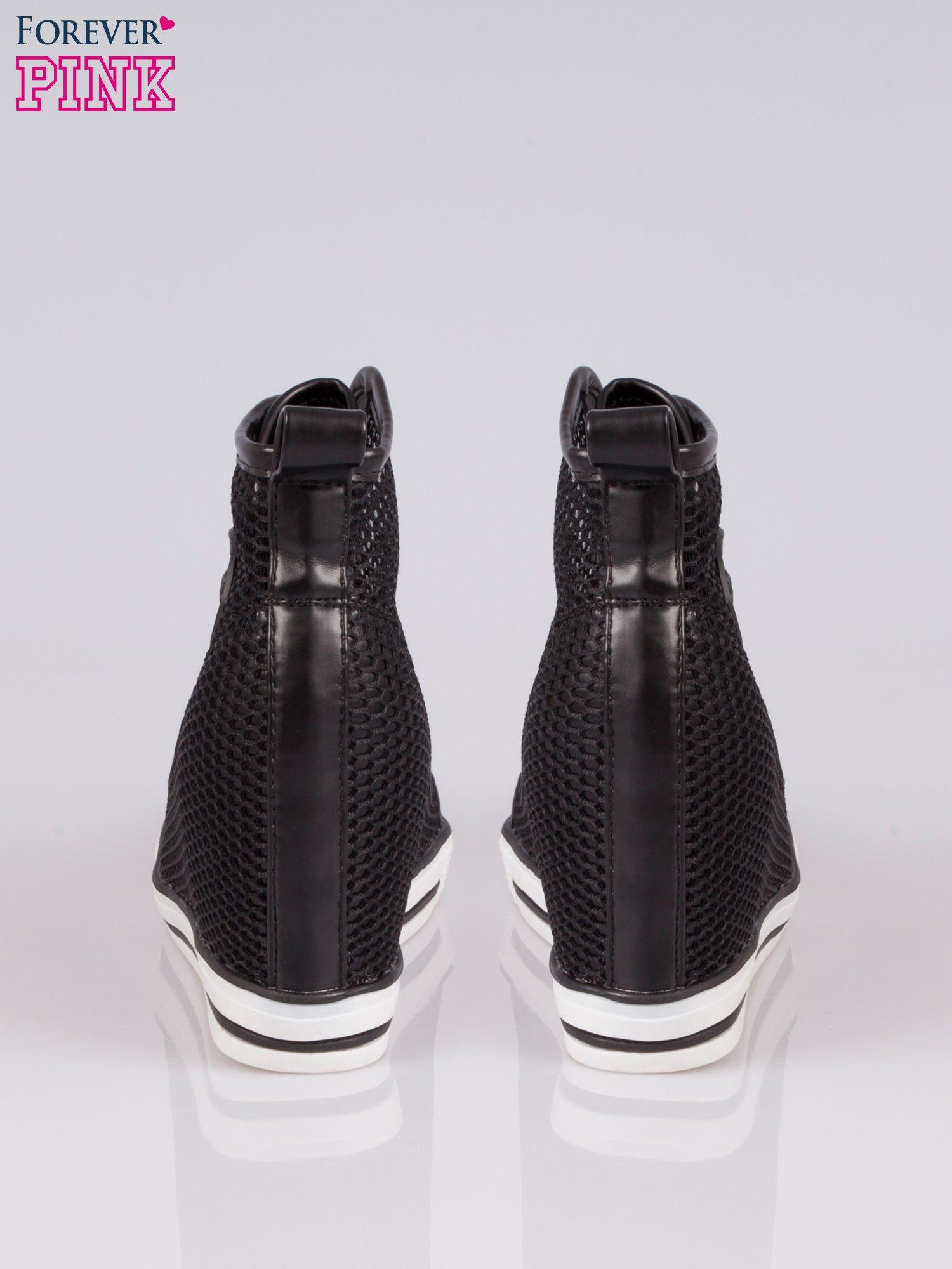 Czarne siateczkowe sneakersy damskie                                  zdj.                                  3