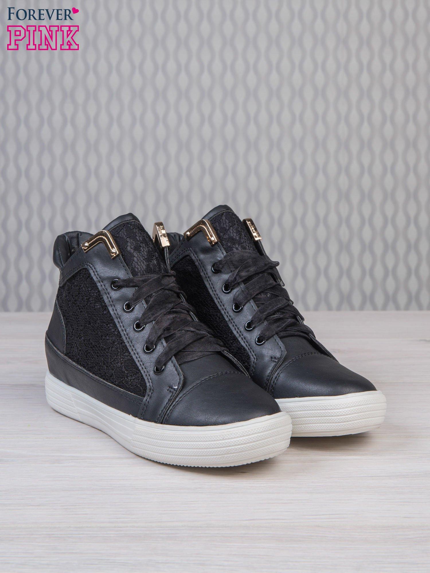 Czarne skórzane sneakersy z koronkowymi wstawkami Lace Dream                                  zdj.                                  3