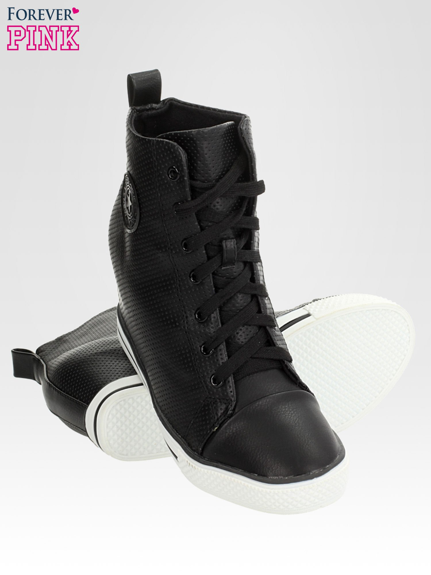 Czarne skórzane trampki na koturnie sneakersy z dziurkowanej cholewki                                  zdj.                                  4