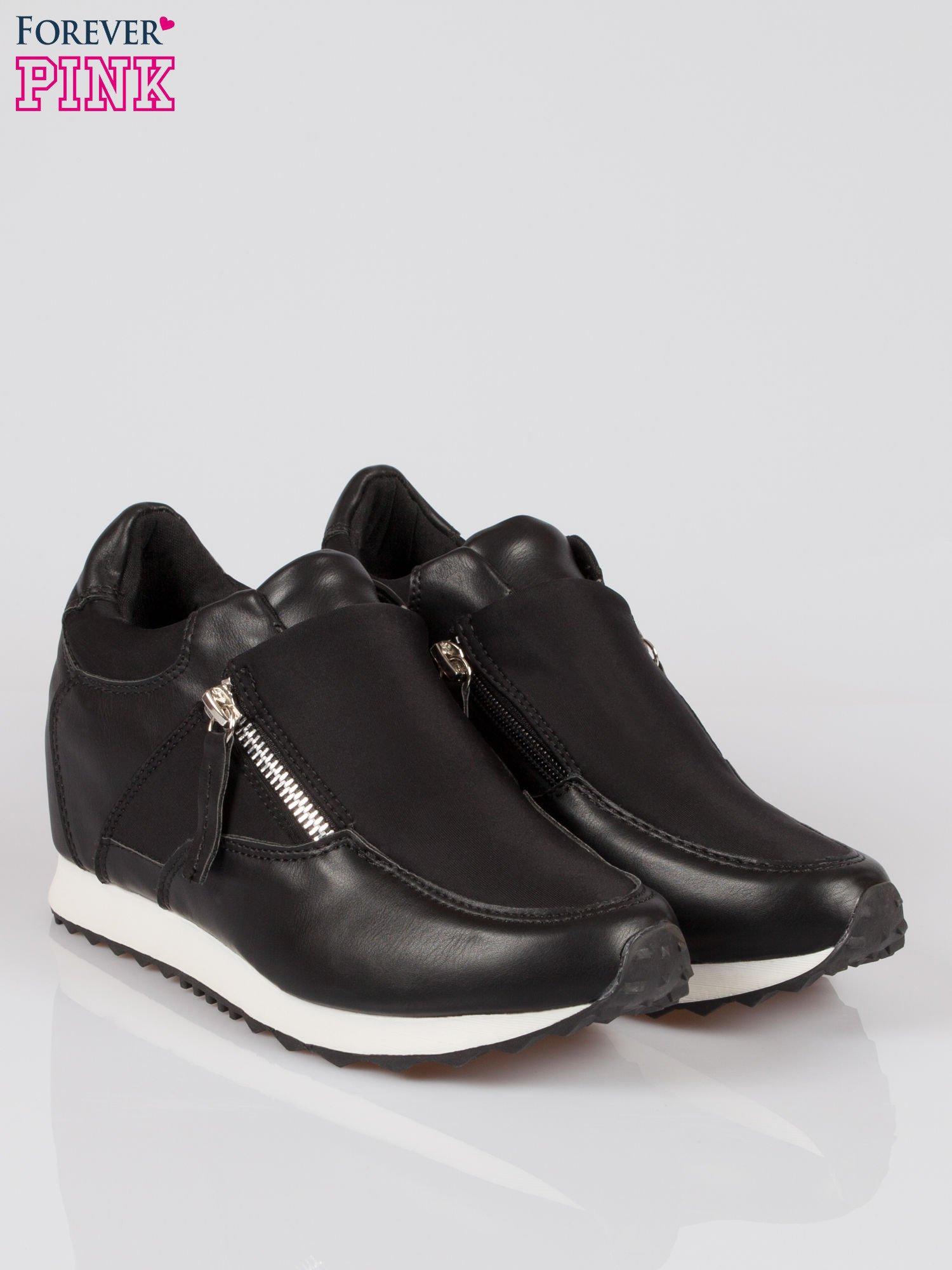 Czarne sneakersy damskie z suwakiem                                  zdj.                                  2