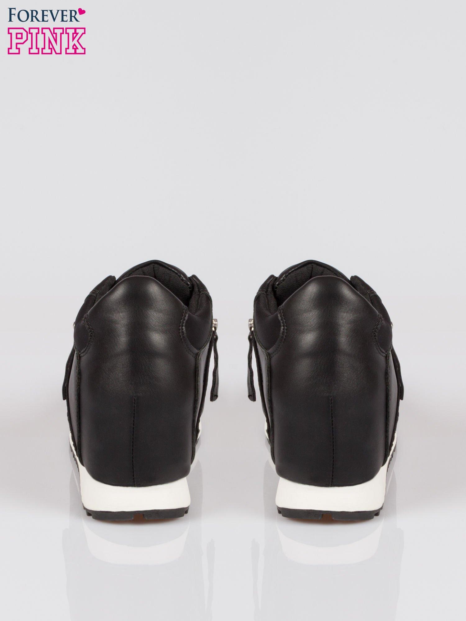 Czarne sneakersy damskie z suwakiem                                  zdj.                                  3