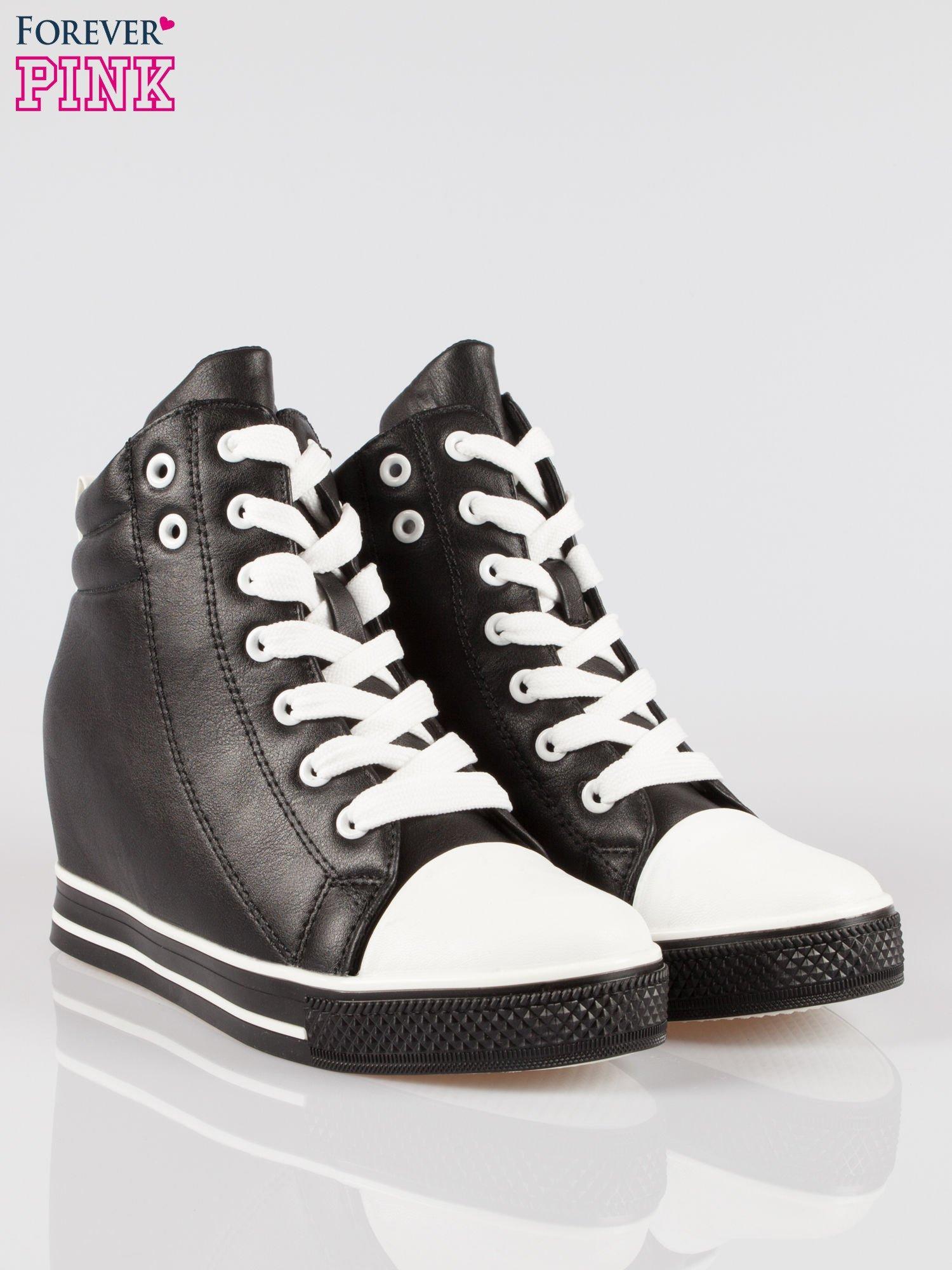 Czarne sneakersy trampki cap toe na koturnie                                  zdj.                                  2