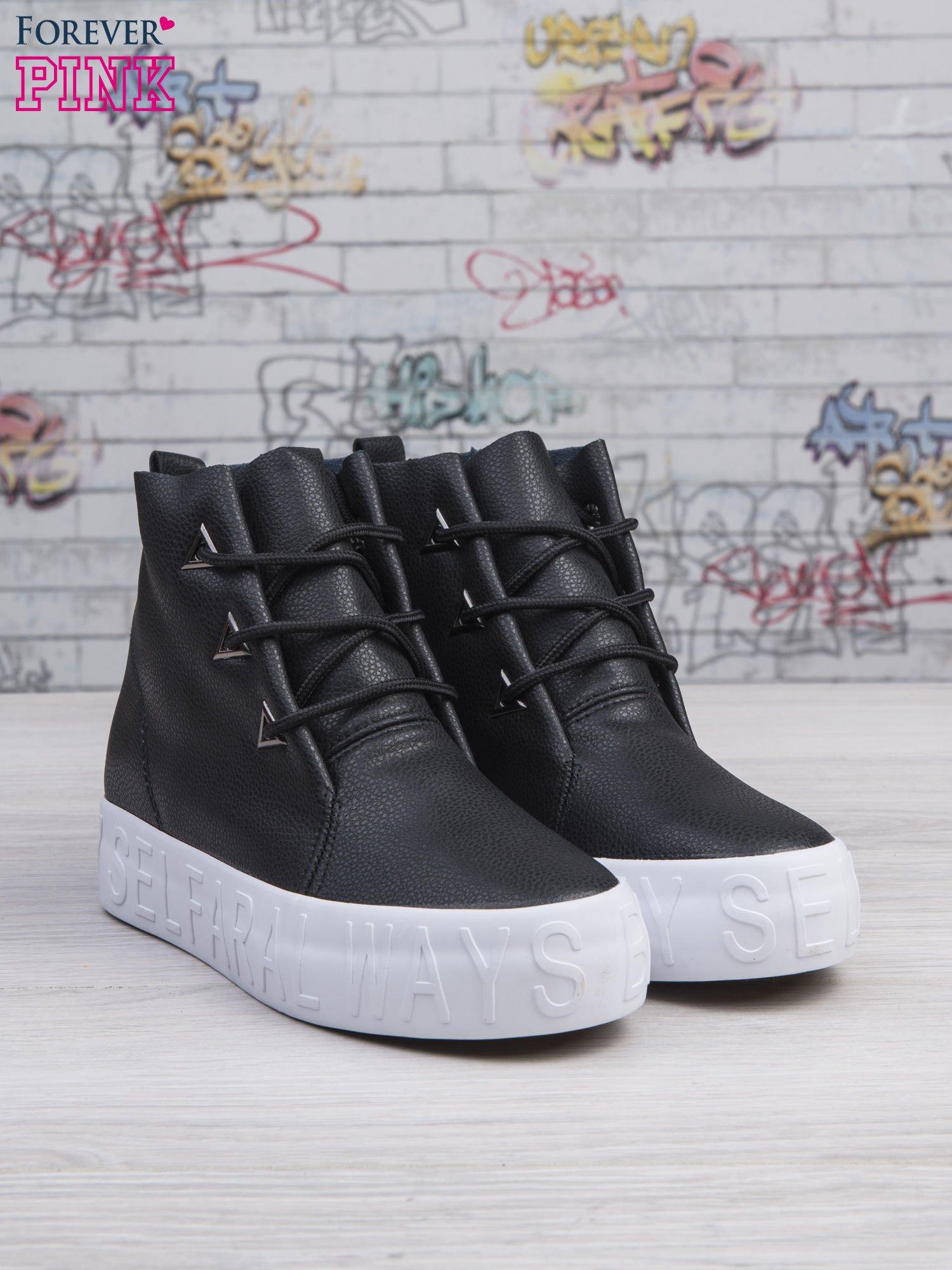 Czarne sneakersy za kostkę Ally z surowym wykończeniem                                  zdj.                                  3