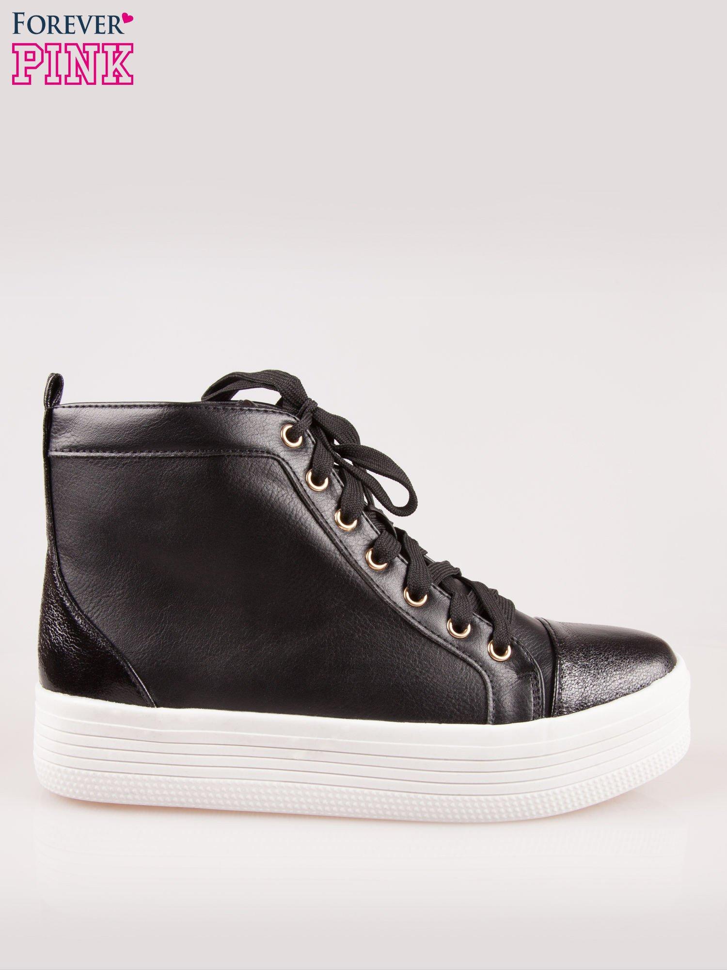 Czarne sneakersy za kostkę na grubej podeszwie                                  zdj.                                  1