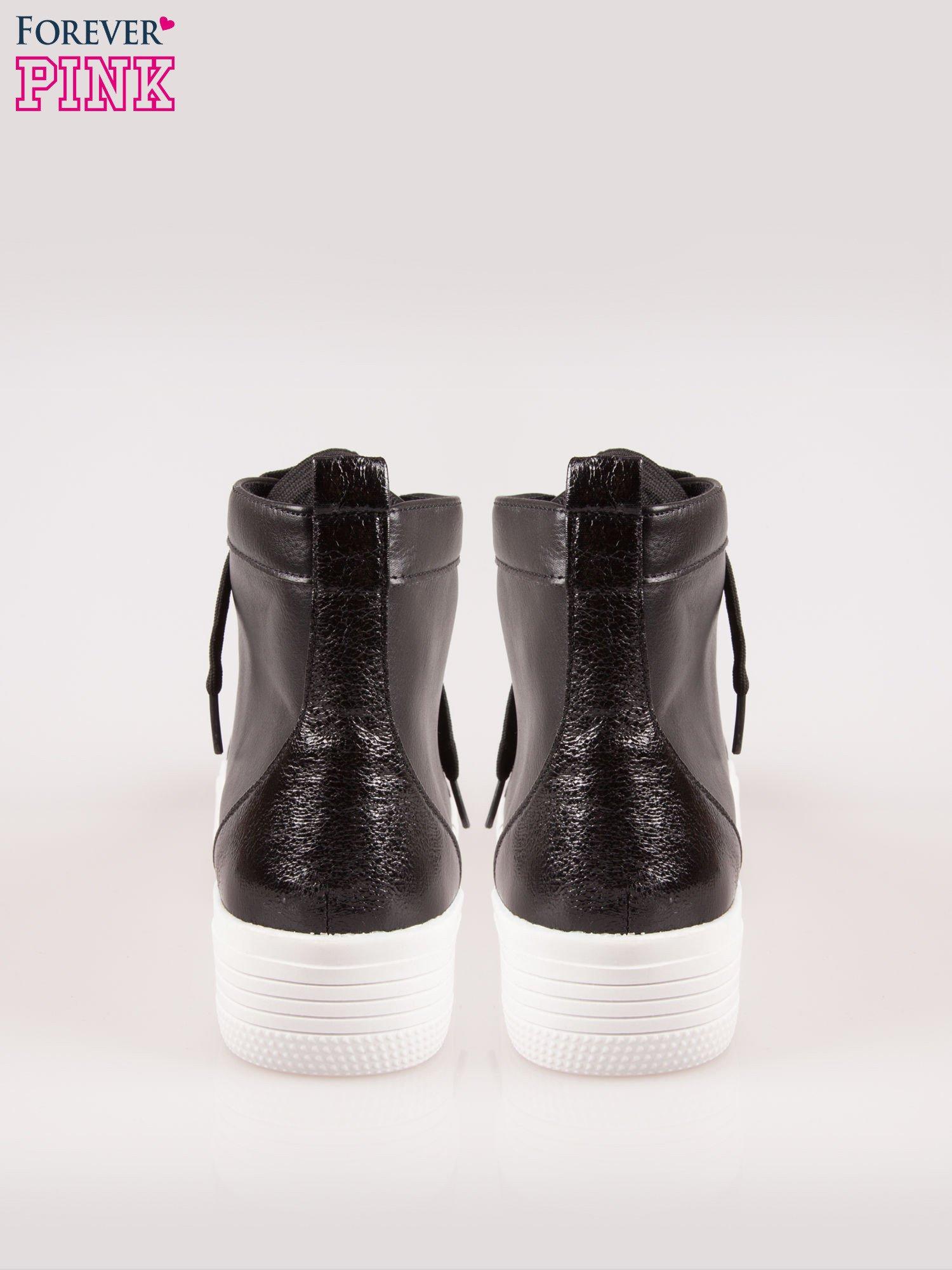Czarne sneakersy za kostkę na grubej podeszwie                                  zdj.                                  3