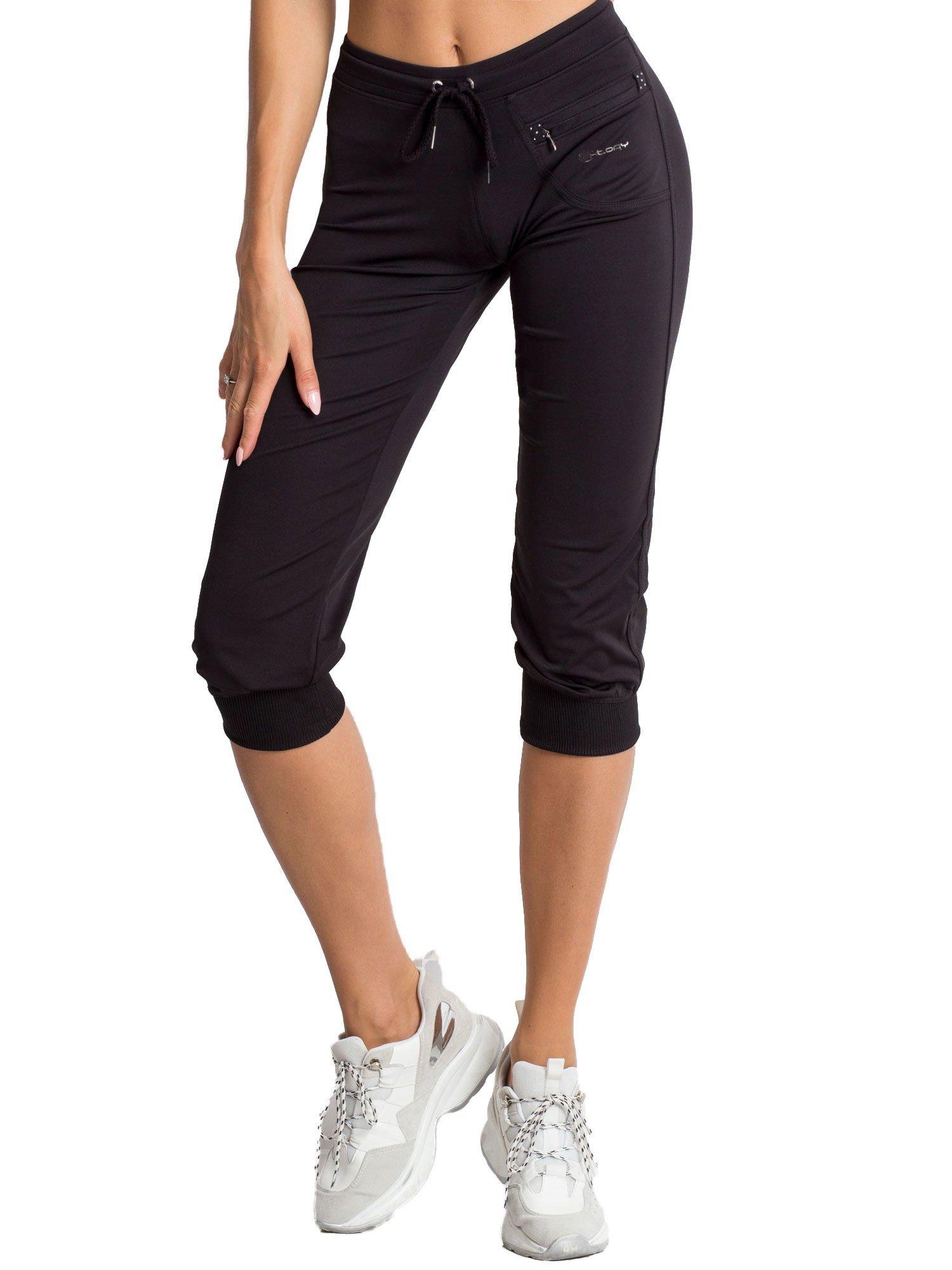 Czarne spodnie capri z dżetami i kieszonką                                  zdj.                                  6