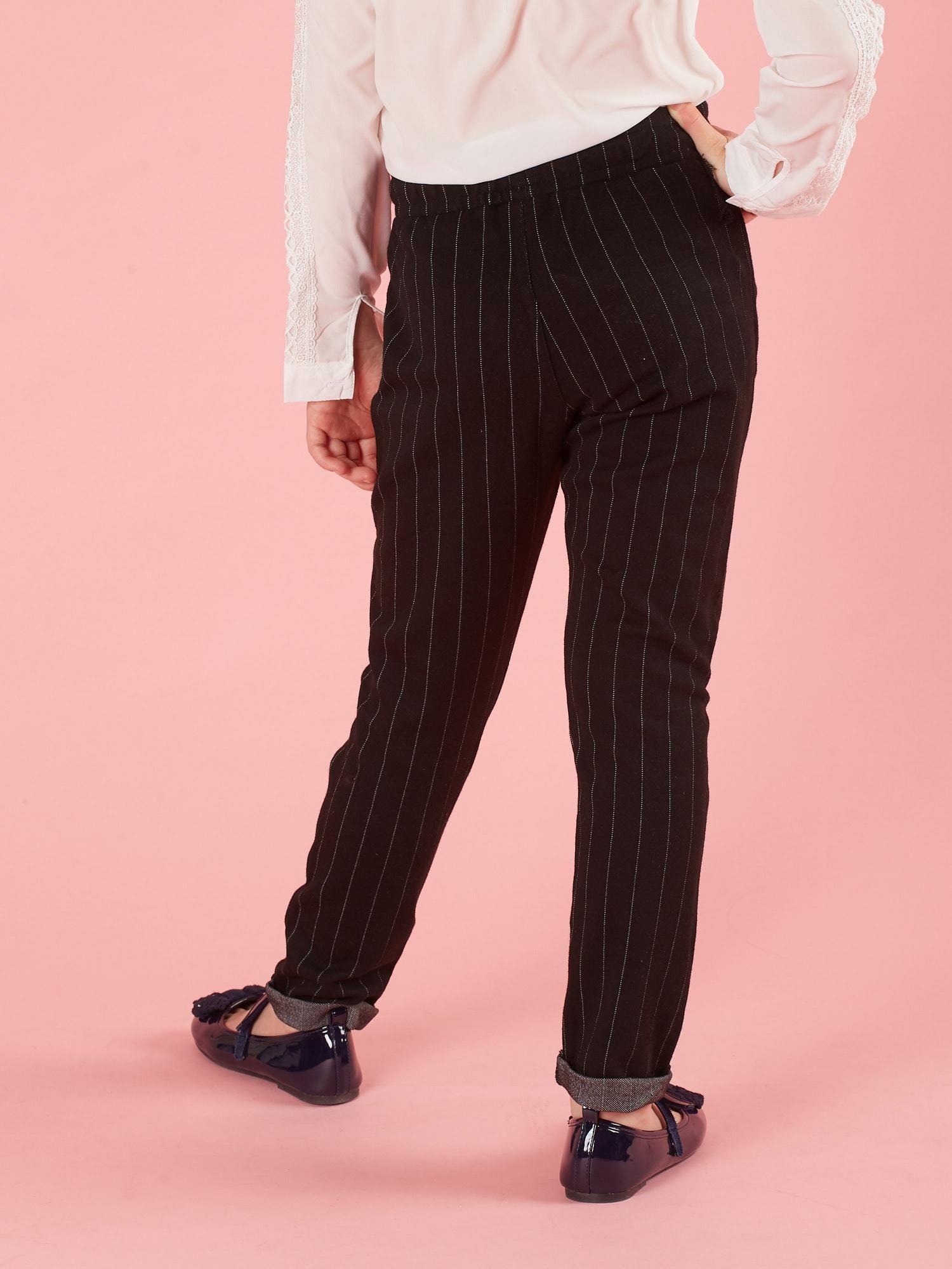 882d4764 Czarne spodnie dla dziewczynki w paski
