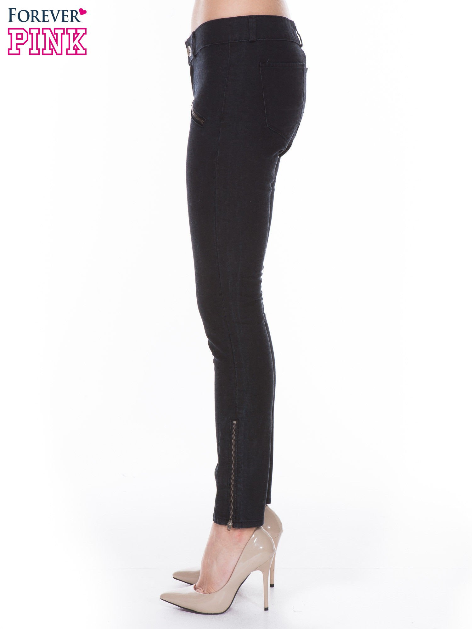 Czarne spodnie jeansowe typu skinny z suwakami na górze i przy nogawkach                                  zdj.                                  2