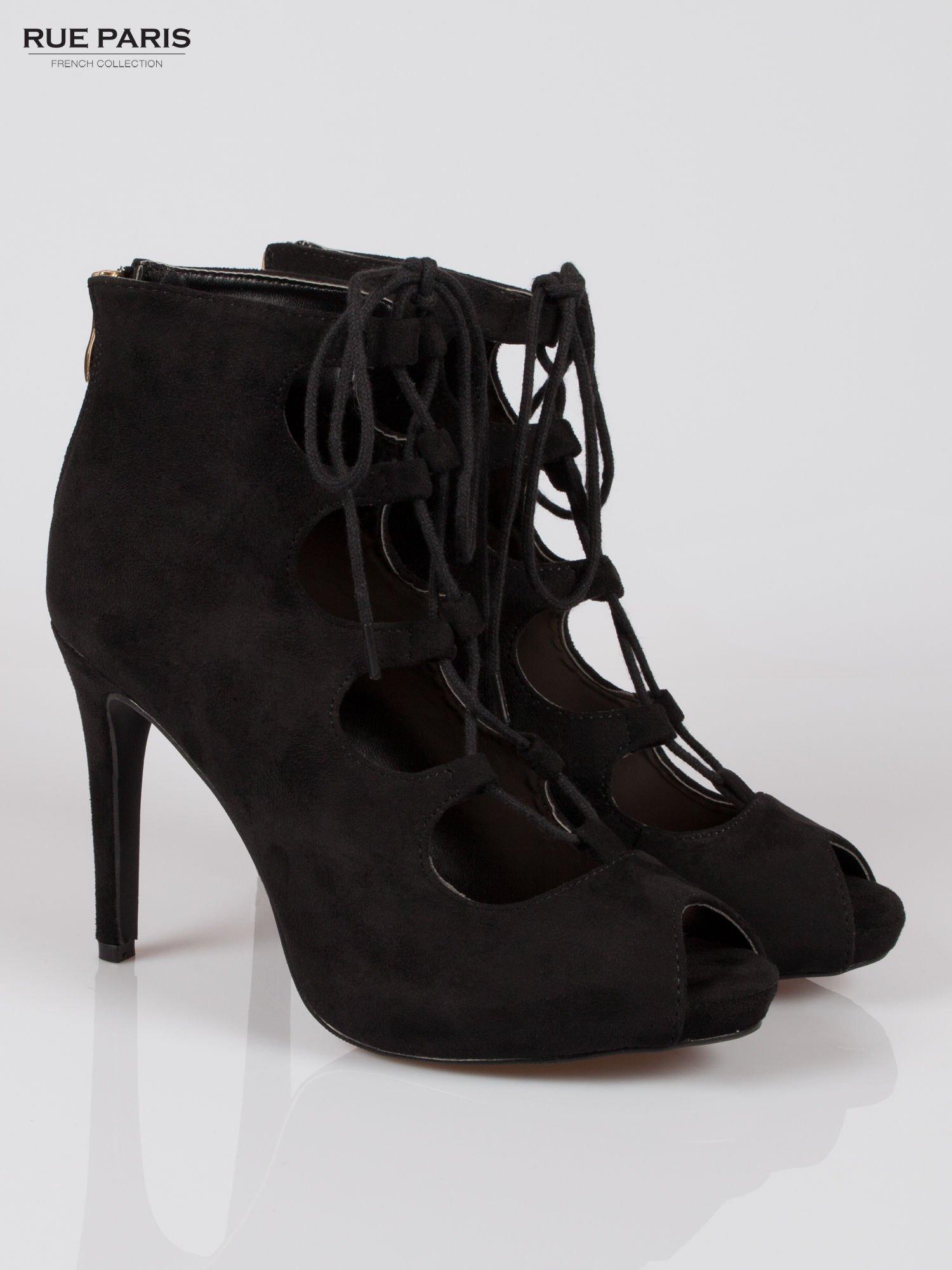 Czarne sznurowane botki lace up open toe z zamkiem                                  zdj.                                  2