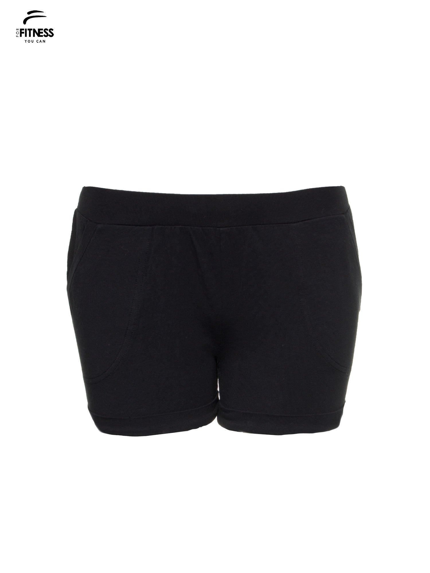 Czarne szorty dresowe z kieszeniami                                  zdj.                                  2