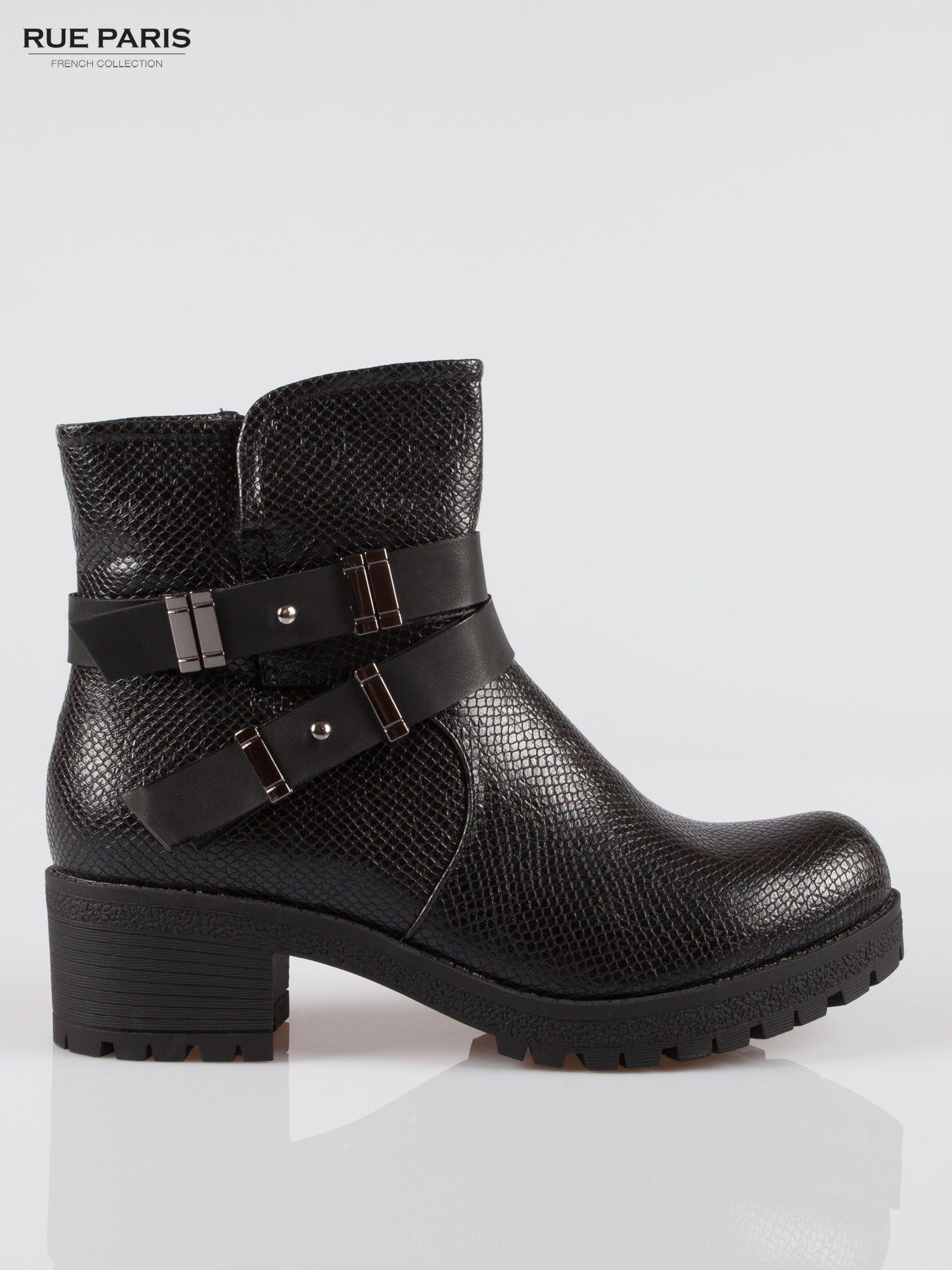 Czarne tłoczone botki biker boots z klamrami                                  zdj.                                  1