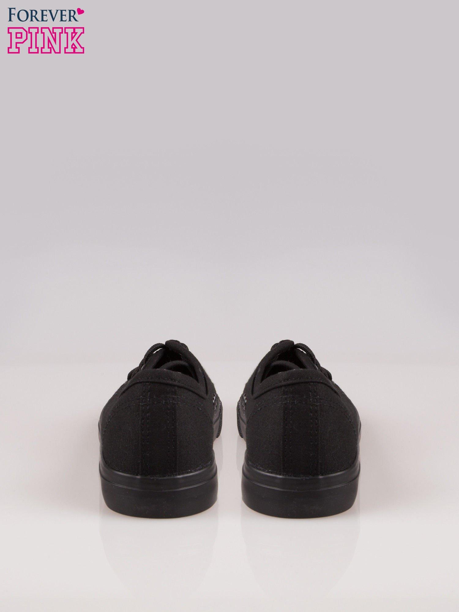 Czarne trampki damskie do kostek z paskiem na podeszwie                                  zdj.                                  3