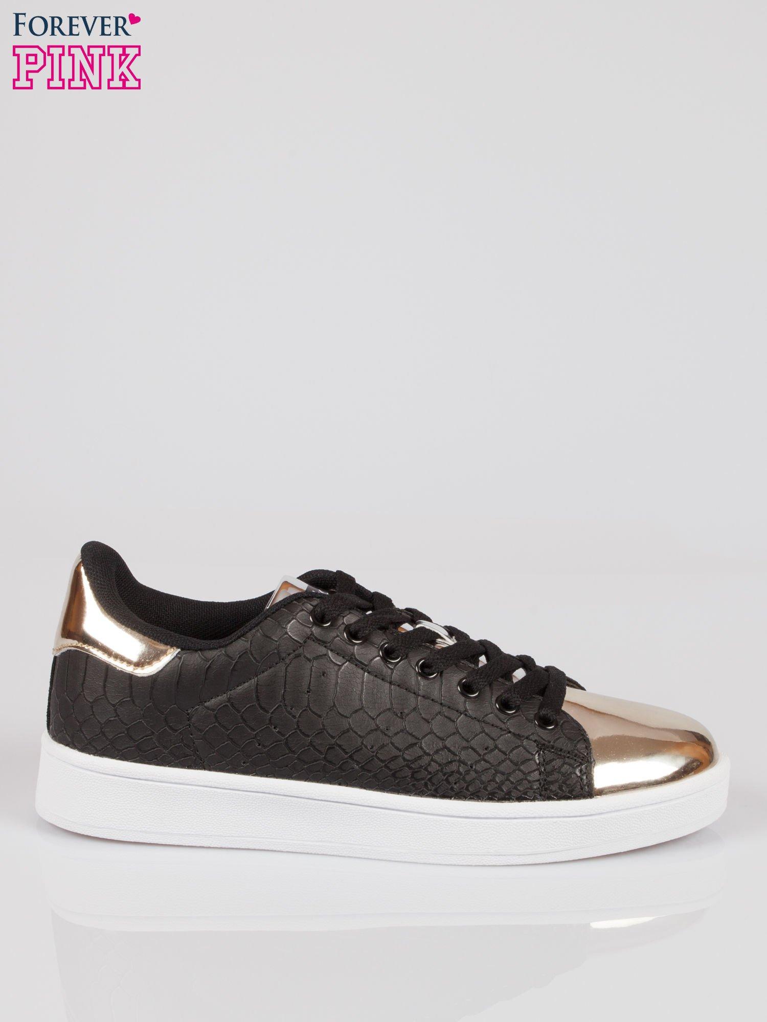 Czarne wężowe buty sportowe gold cap toe                                  zdj.                                  1