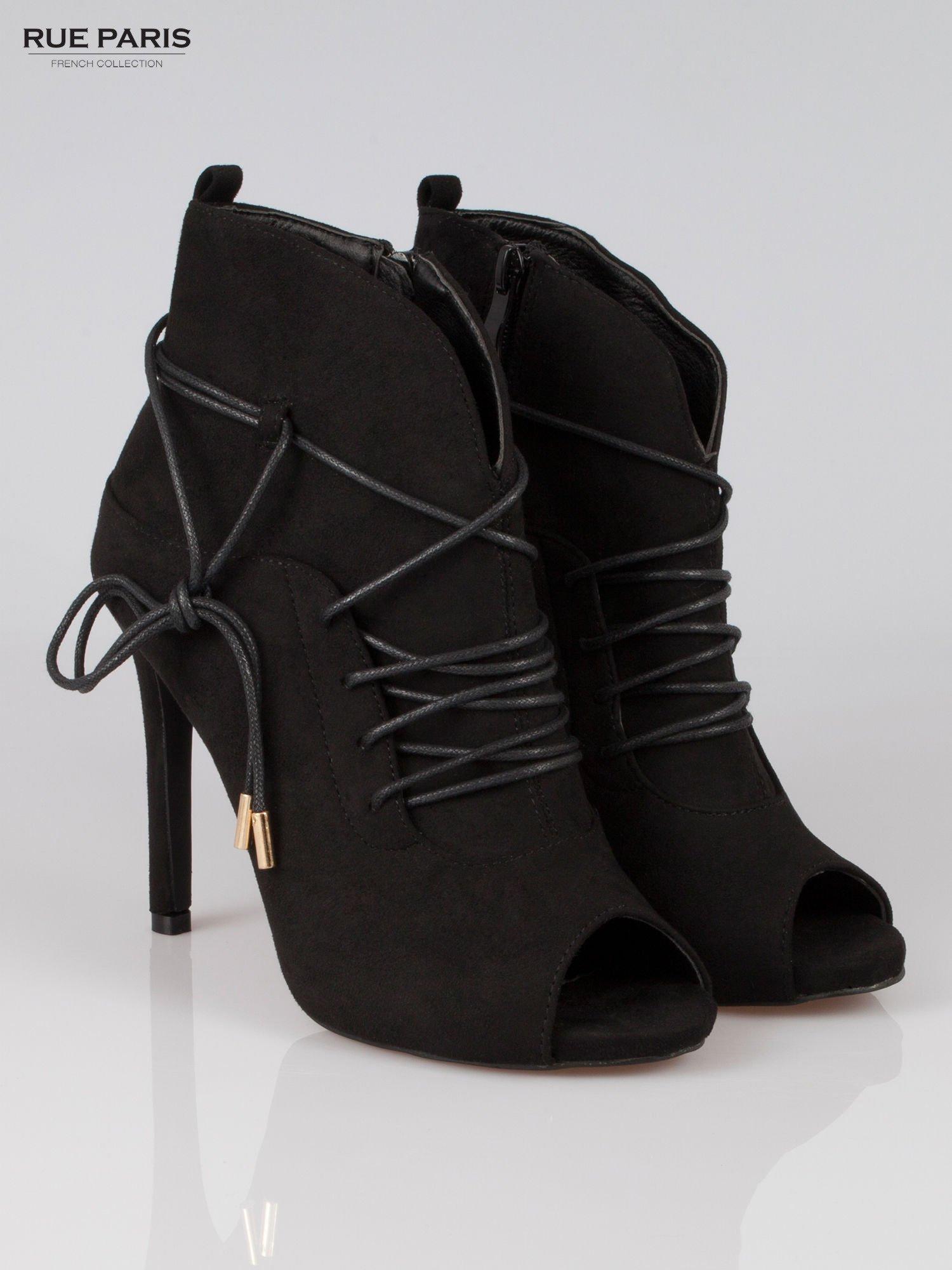 Czarne wiązane botki faux suede Elsa lace up                                  zdj.                                  2