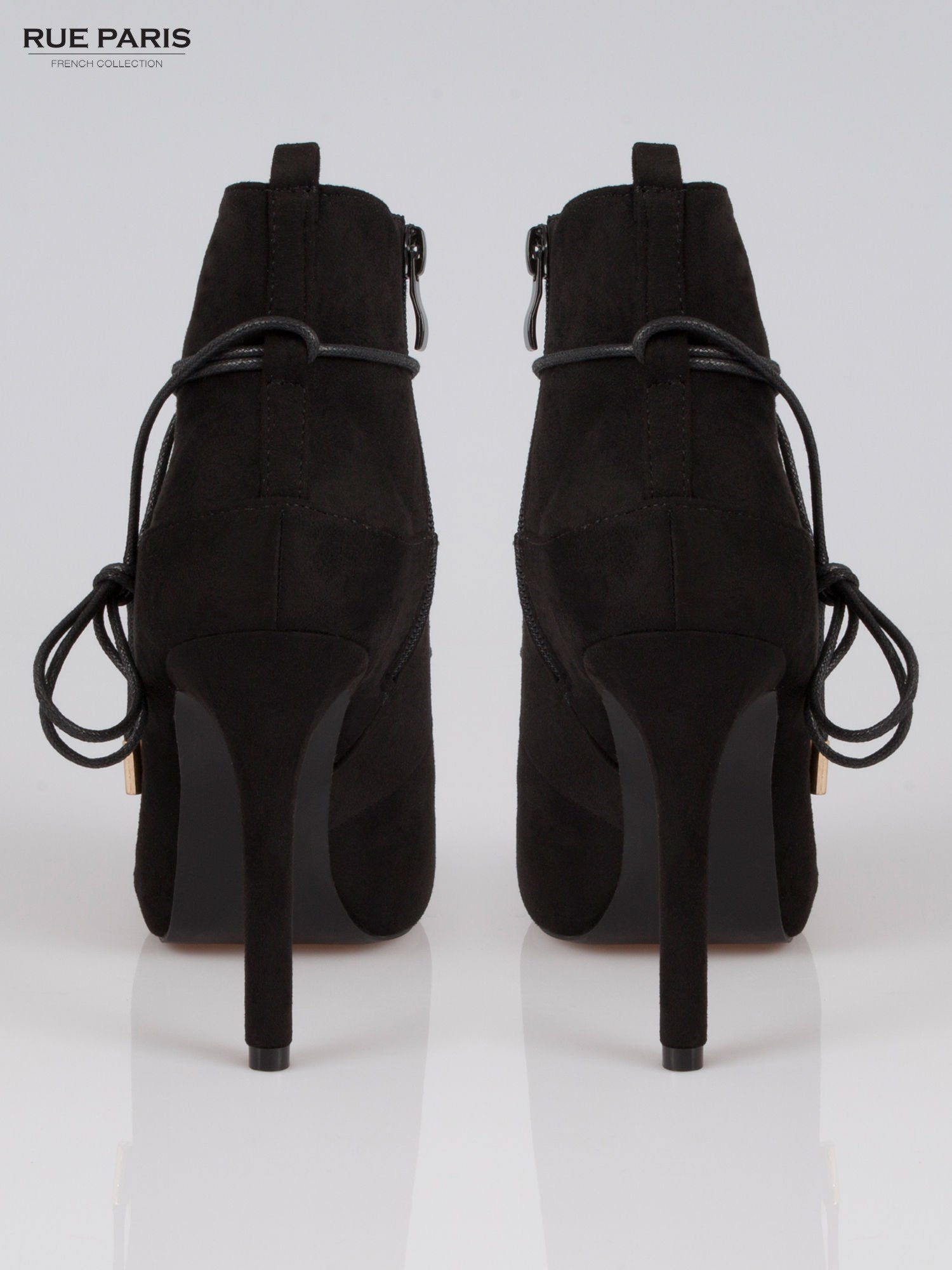Czarne wiązane botki faux suede Elsa lace up                                  zdj.                                  3