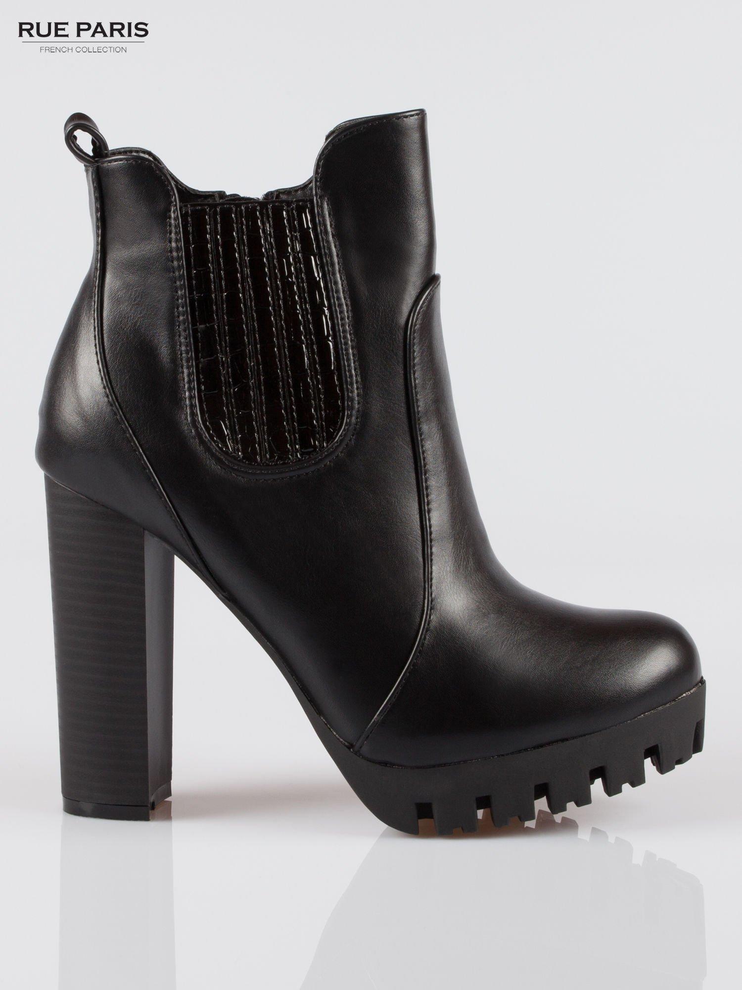 e34ad4ed4f577 Czarne wysokie botki na platformie stylizowane na sztyblety - Buty ...