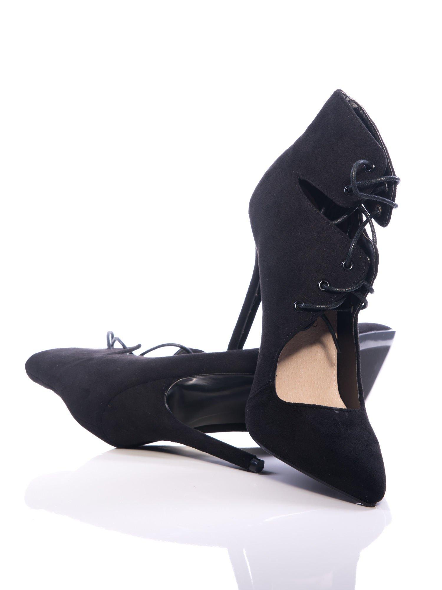 Czarne zamszowe sznurowane botki faux suede Isolde cut out lace up                                  zdj.                                  2
