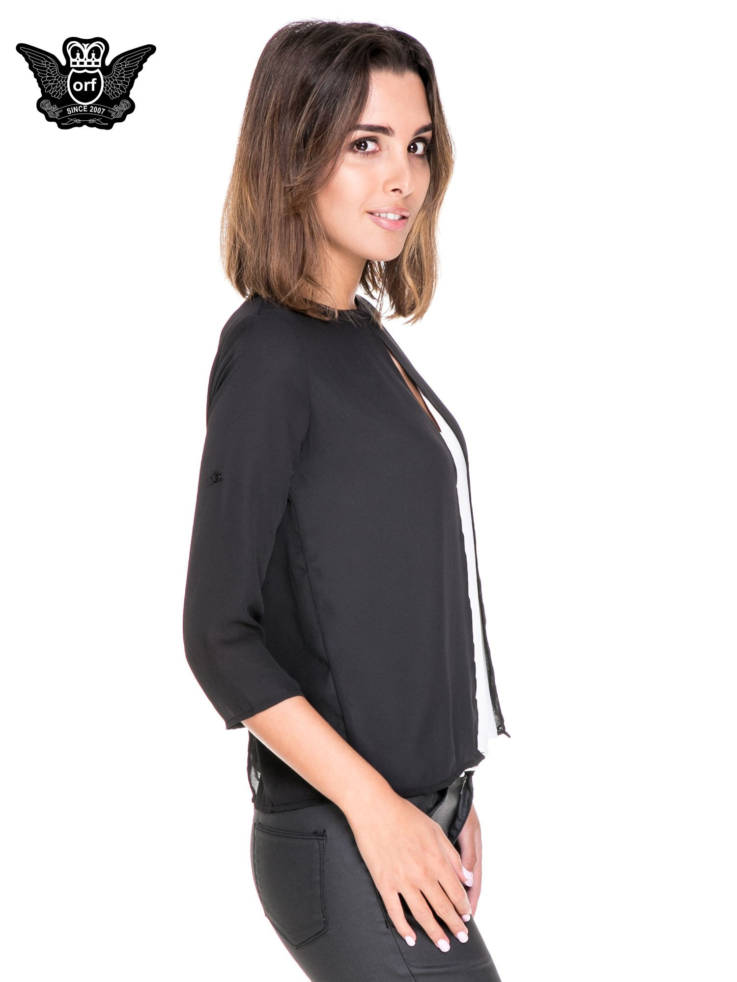 Czarno-biała dwuwarstwowa koszula o kroju narzutki                                  zdj.                                  3